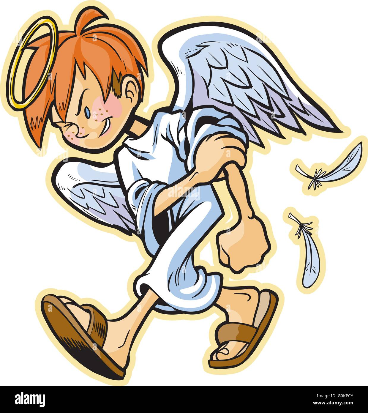 Vector cartoon clip art of a scrappy angel with red hair headed for a fight! Something evil is gonna get a beat - Stock Vector