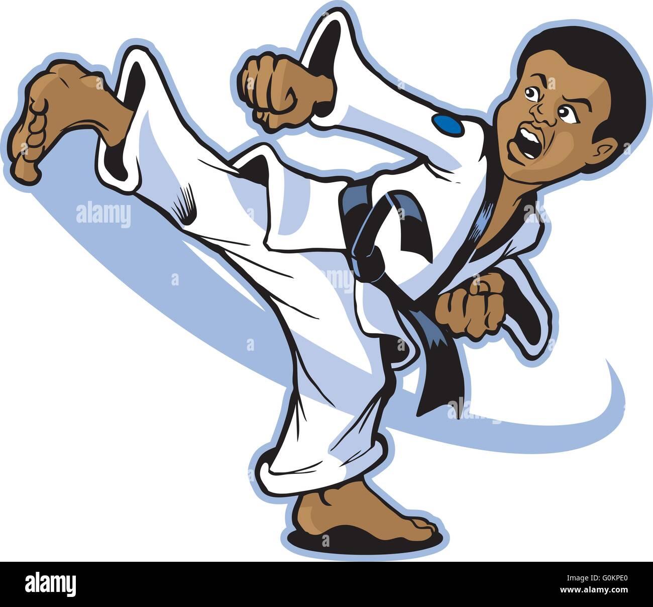 Vector Clip Art Cartoon Illustration Of A Boy Martial Artist Of Stock Vector Image Art Alamy