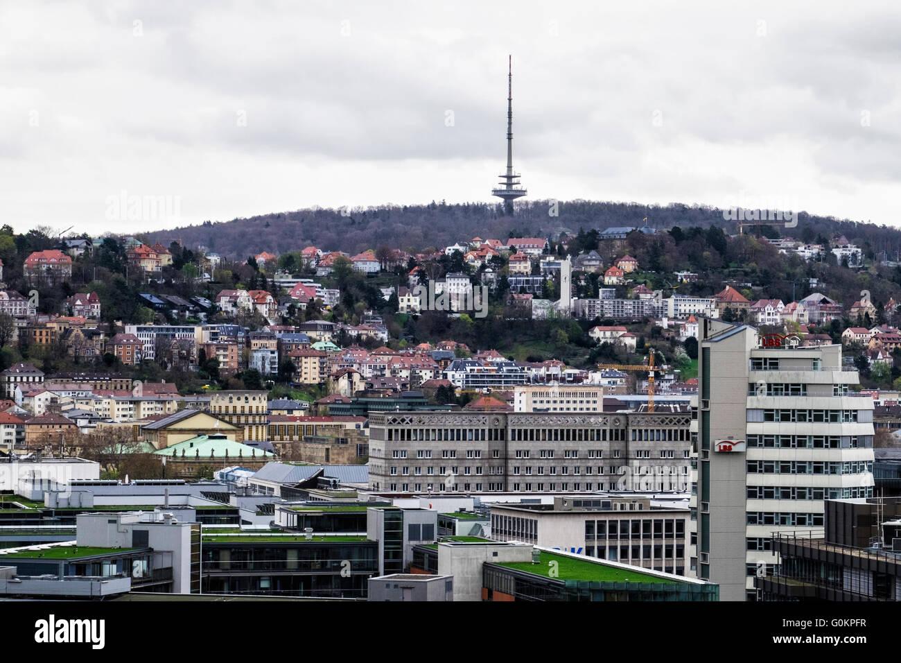 Stuttgart, Germany. Rooftop aerial view of city buildings - Stock Image