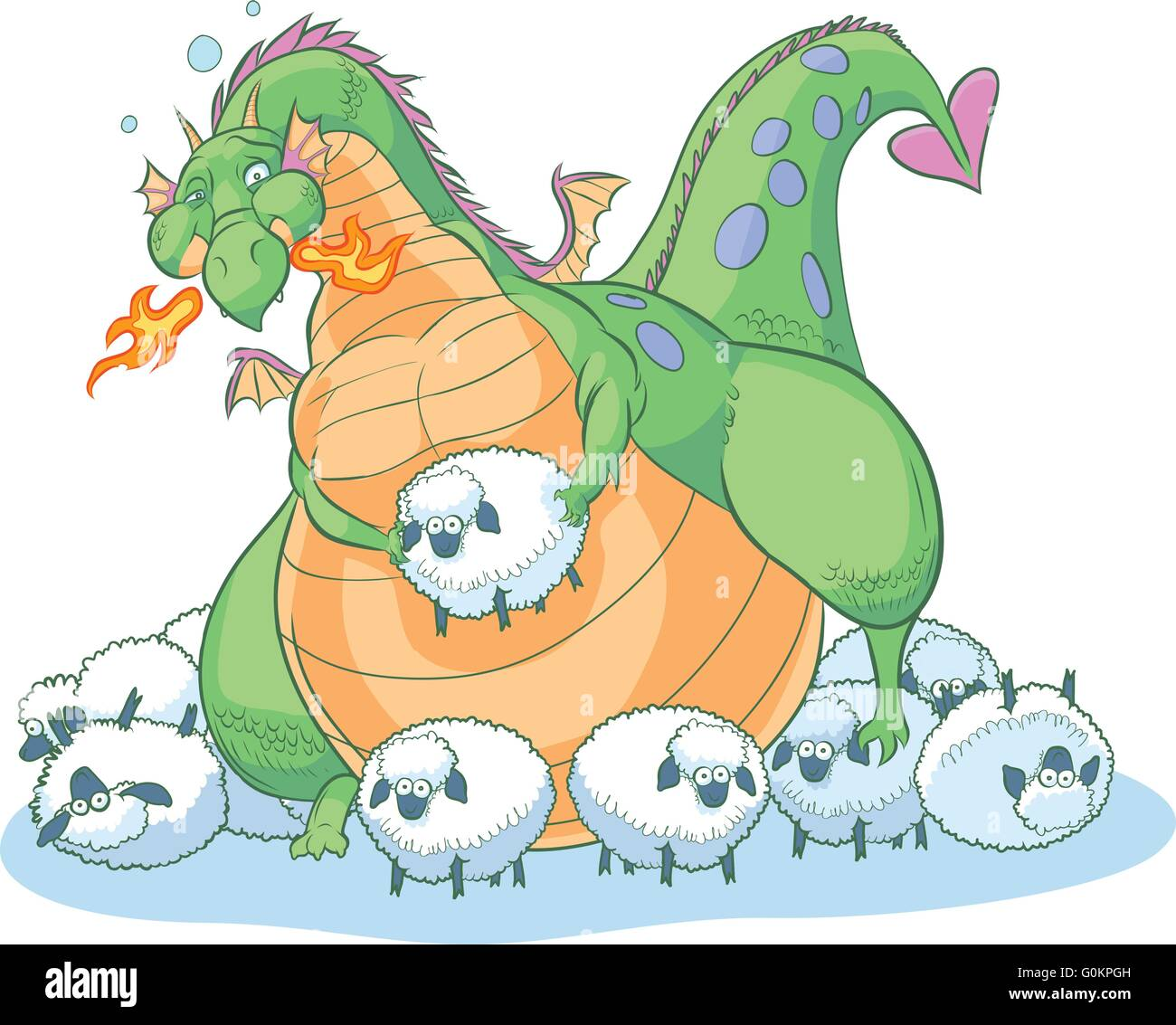 An overeating fat cartoon dragon discovers that you can have too much of a good thing. He is surrounded by clueless Stock Vector