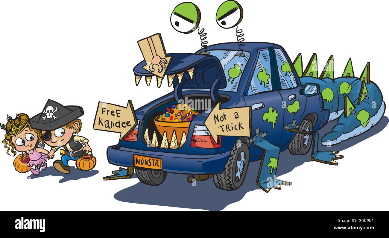 A vector clip art cartoon of two kids warily approching a car decorated for a trunk or treat event on Halloween. - Stock Vector