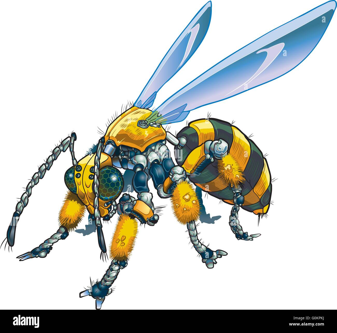 Vector cartoon clip art illustration of a robot wasp or bee. Could also be a conceptual illustration of future drone - Stock Image