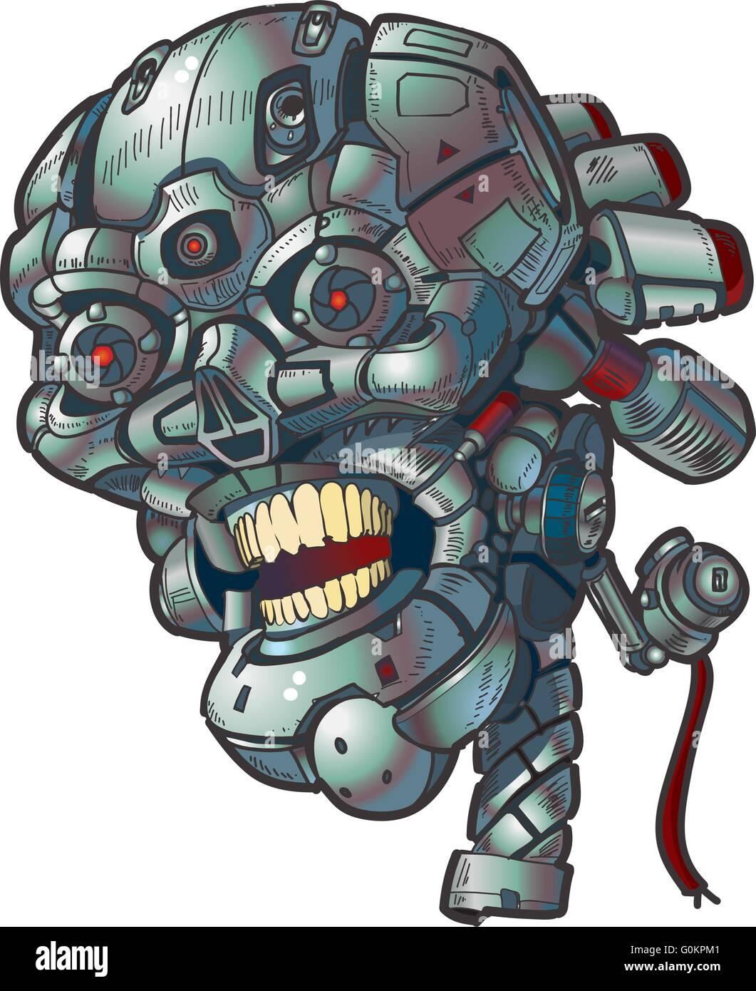 Vector cartoon clip art illustration of a robot skull. - Stock Image