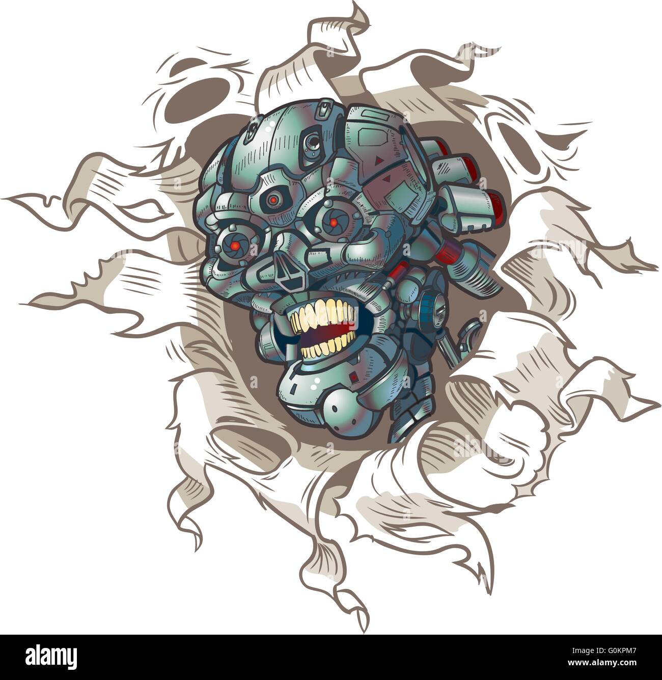 Vector cartoon clip art illustration of a robot skull ripping out of a hole in the background - Stock Image
