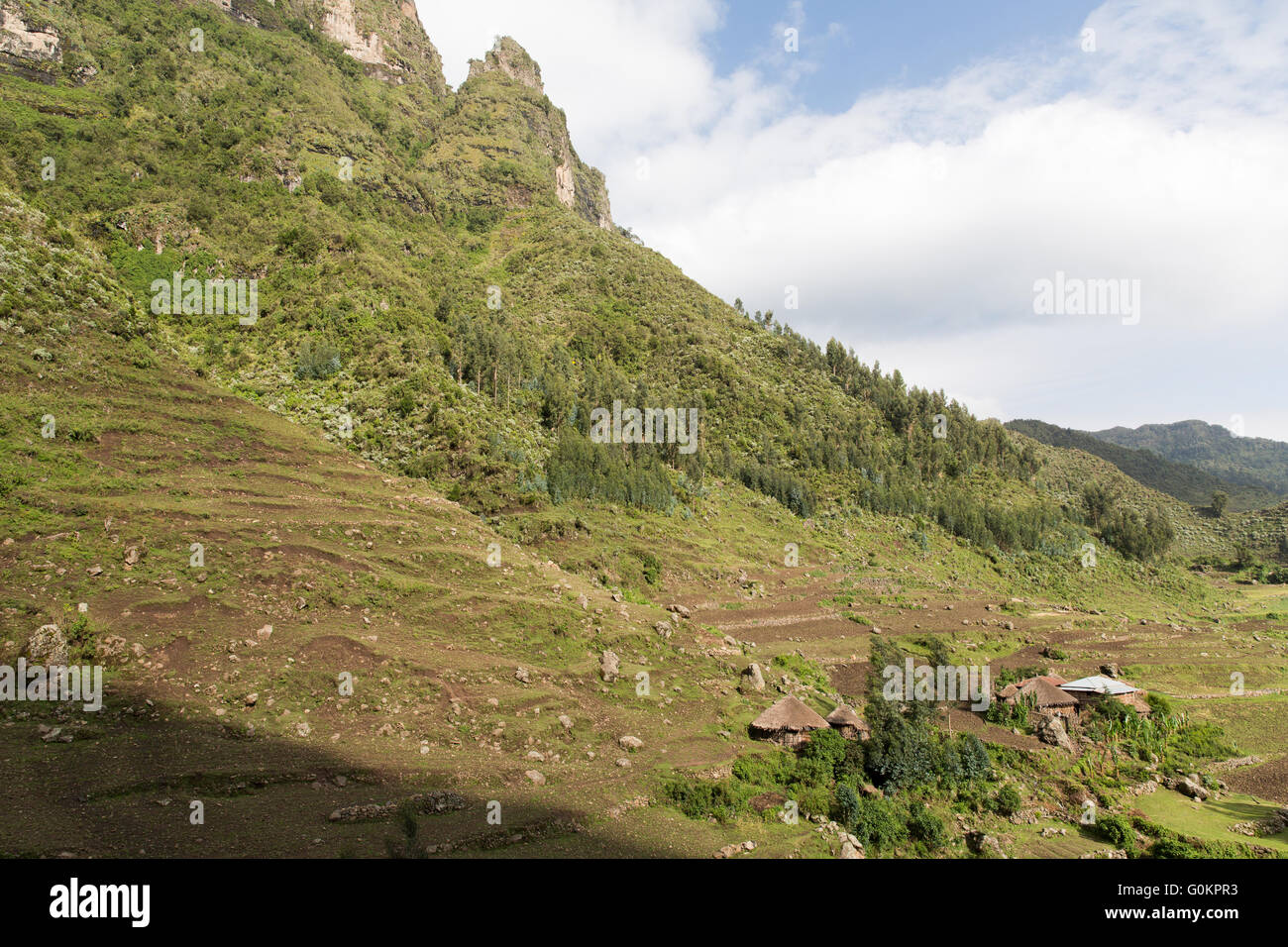 Mescha village, North Shewa,  Ethiopia, October 2013: steep slopes show signs of serious erosion. - Stock Image