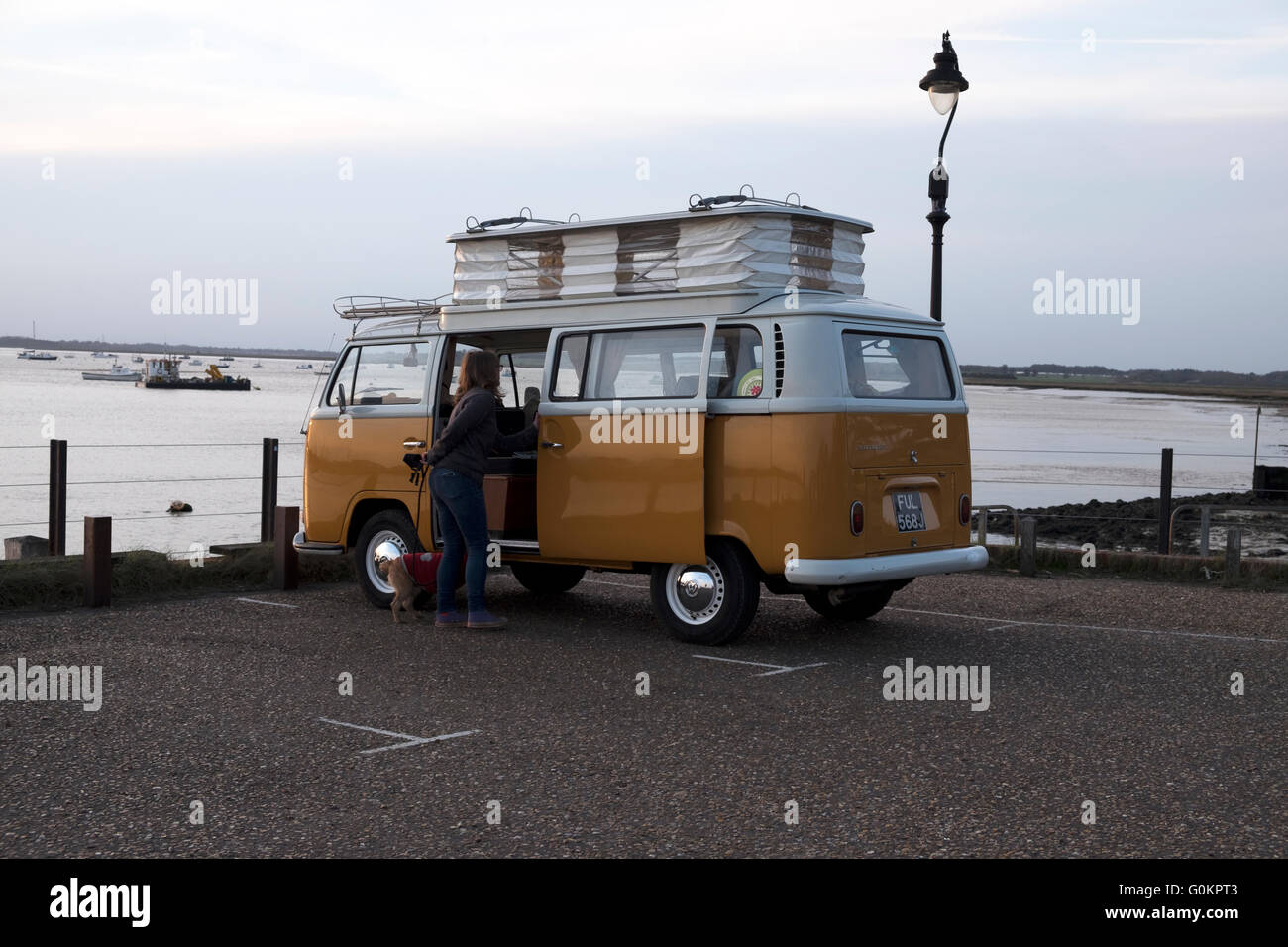 Vintage VW camper bus, Bawdsey Ferry, Suffolk, UK. - Stock Image