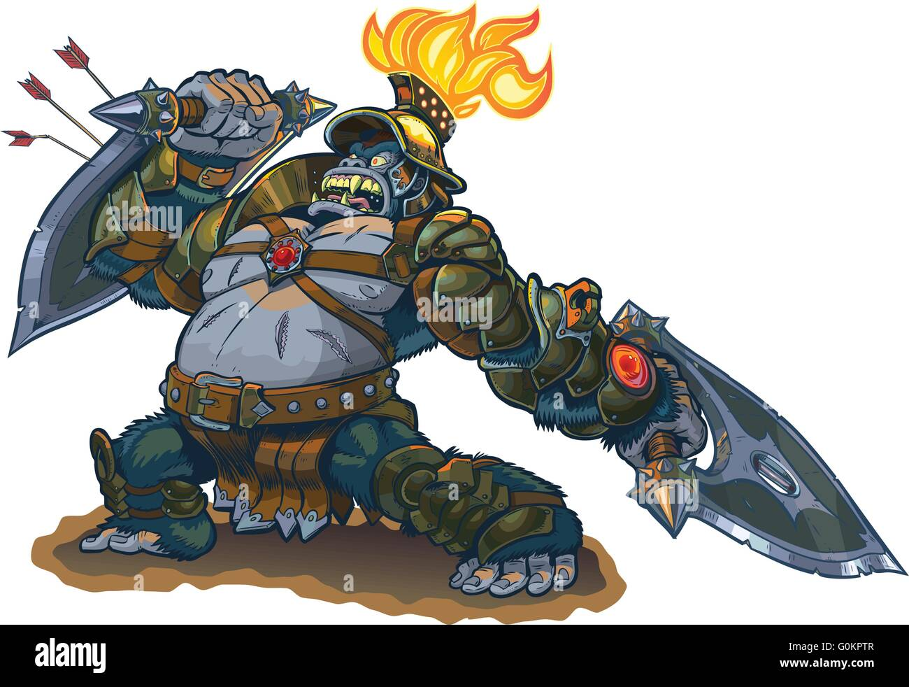 Vector cartoon fantasy illustration of a mighty gorilla warrior in armor with a flaming torch on his helmet. - Stock Vector