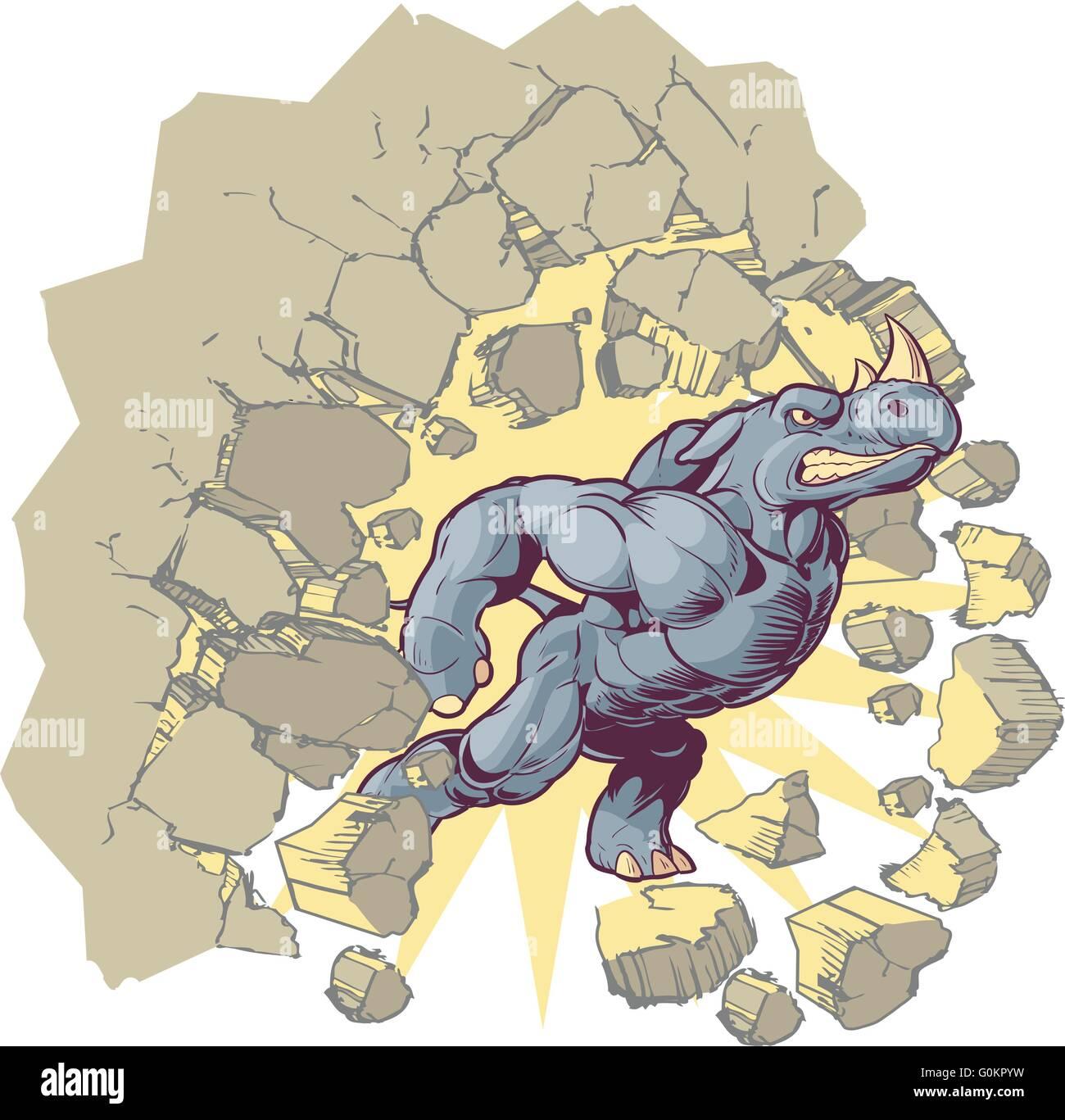Vector Cartoon Clip Art Illustration of an Anthropomorphic Mascot Rhino Crashing through a wall. - Stock Image