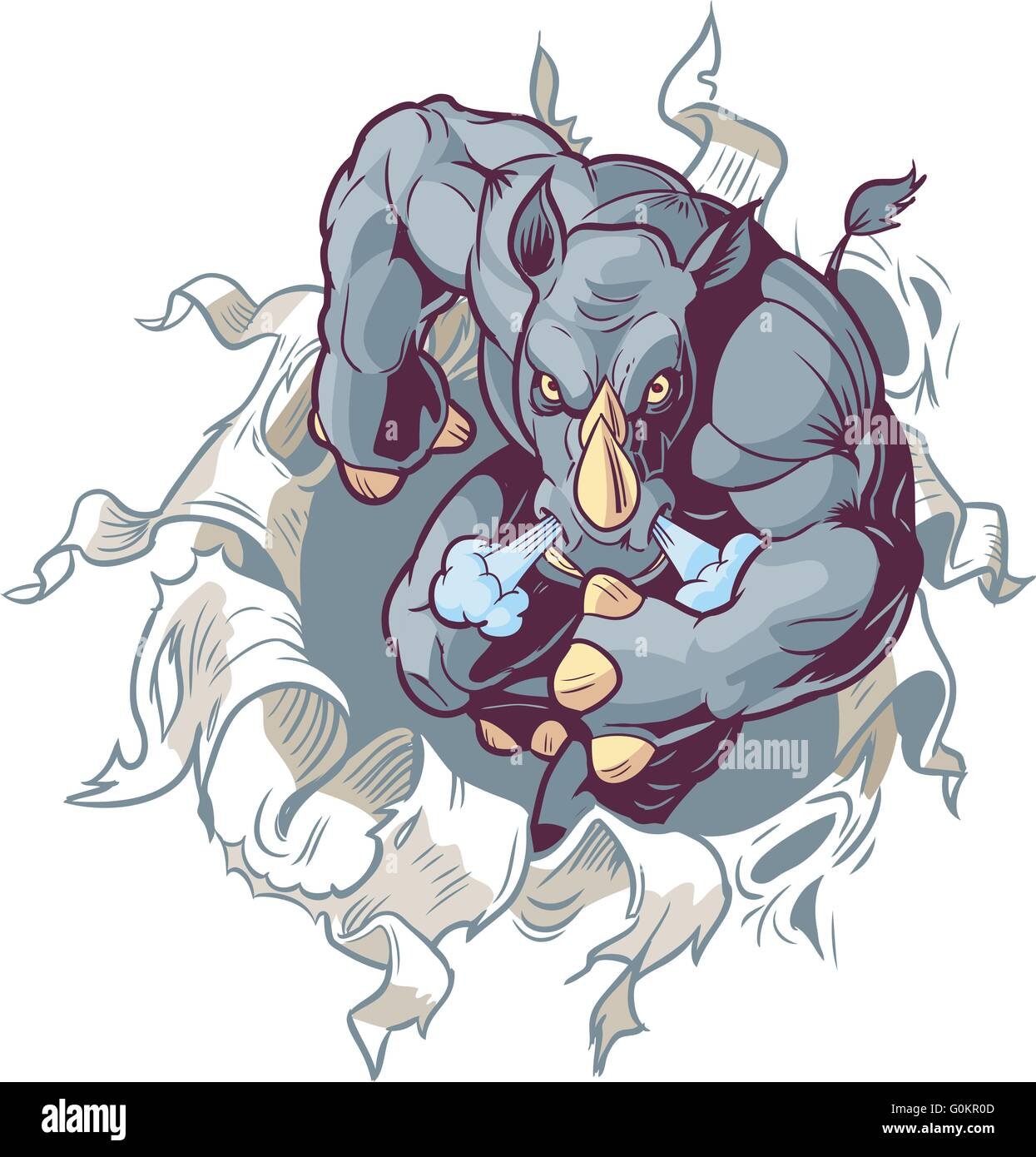 Vector Cartoon Clip Art Illustration of an Anthropomorphic Cartoon Mascot Rhino Ripping Forward Through a Paper - Stock Image