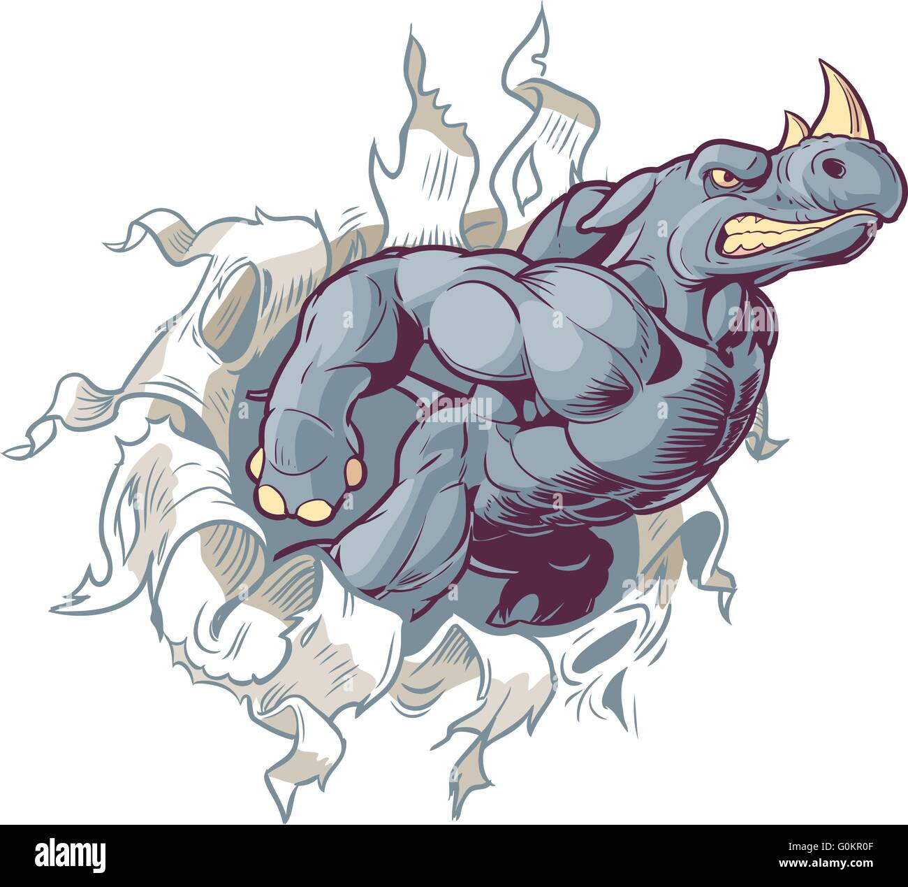 Vector Cartoon Clip Art Illustration of an Anthropomorphic Cartoon Mascot Rhino Ripping Through a Paper Background. - Stock Image