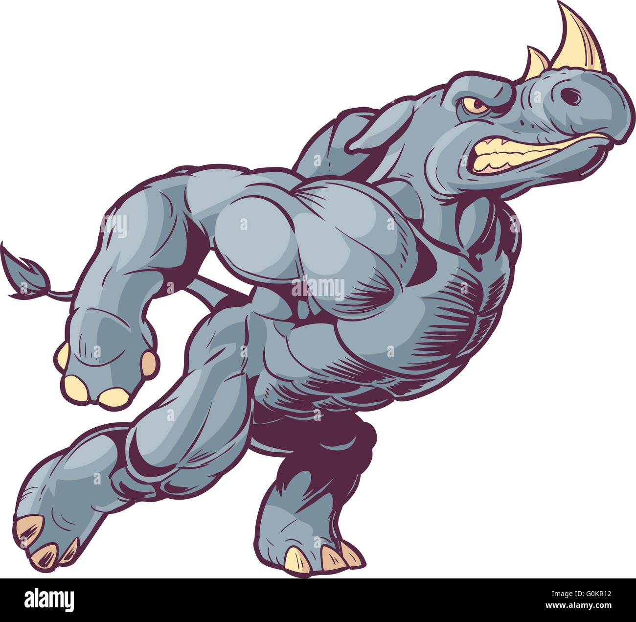 Vector Cartoon Clip Art Illustration of an Anthropomorphic Mascot Rhino Charging to the Right - Stock Image