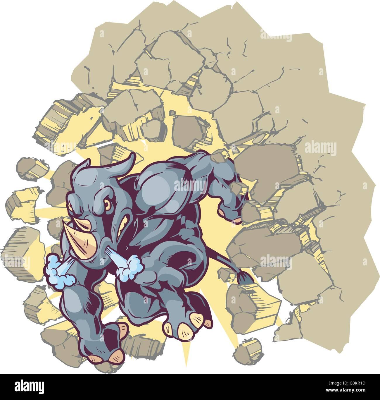 Vector Cartoon Clip Art Illustration of a Crouching Anthropomorphic Mascot Rhino Crashing through a wall. - Stock Image