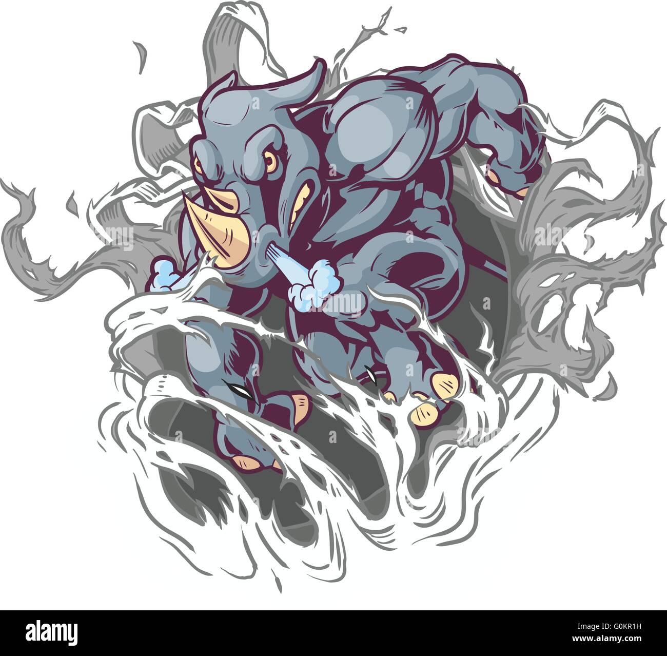 Vector Cartoon Clip Art Illustration of a Crouching Anthropomorphic Cartoon Mascot Rhino Ripping Through the Background. - Stock Image