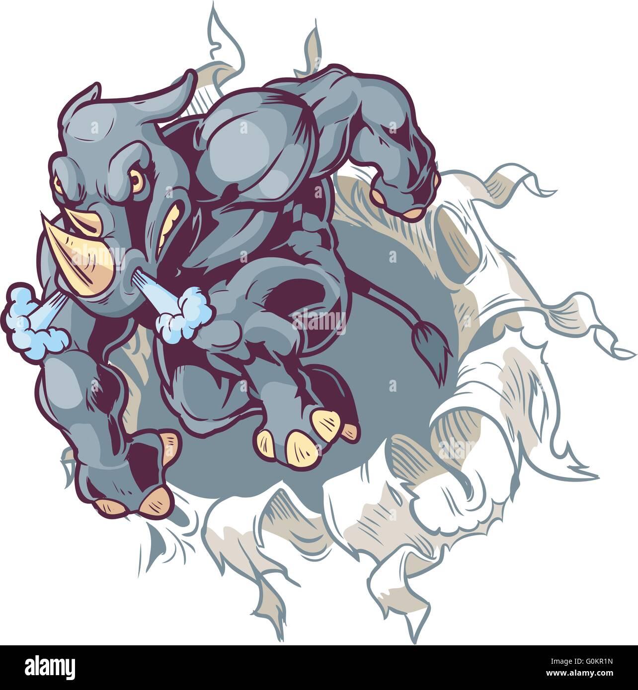 Vector Cartoon Clip Art Illustration of a Crouching Anthropomorphic Cartoon Mascot Rhino Ripping Through a Paper - Stock Image