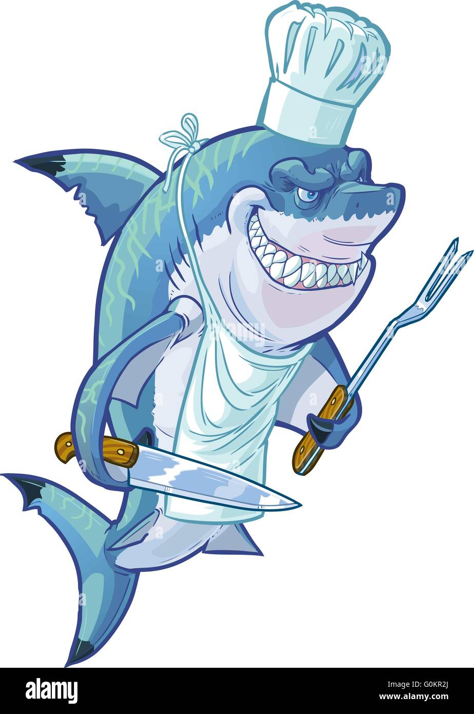 Vector cartoon clip art illustration of a tough mean smiling shark with a chef hat, apron, barbecue fork, and butcher Stock Vector
