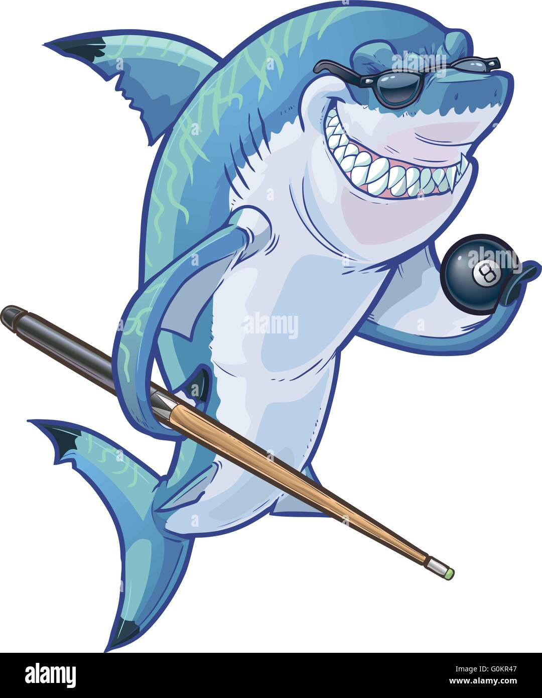 Vector cartoon clip art illustration of a tough mean smiling shark mascot wearing sunglasses and holding eight ball - Stock Vector