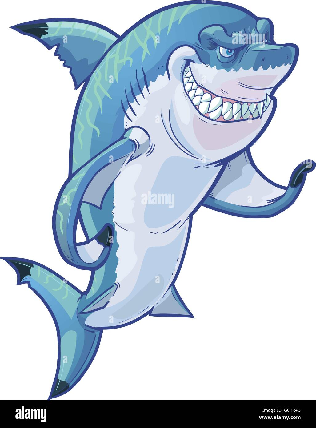 Vector cartoon clip art illustration of a tough mean smiling shark mascot gesturing with its pectoral fin. - Stock Image