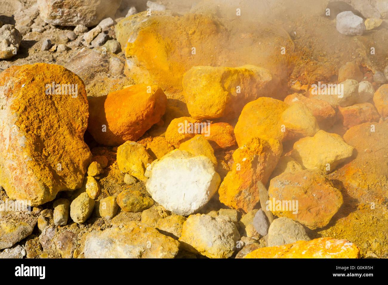 Solfatara volcano. Steam & sulfurous fumes rise from fumerole / fumeroles. Pozzuoli nr Naples Italy; Campi Flegrei - Stock Image