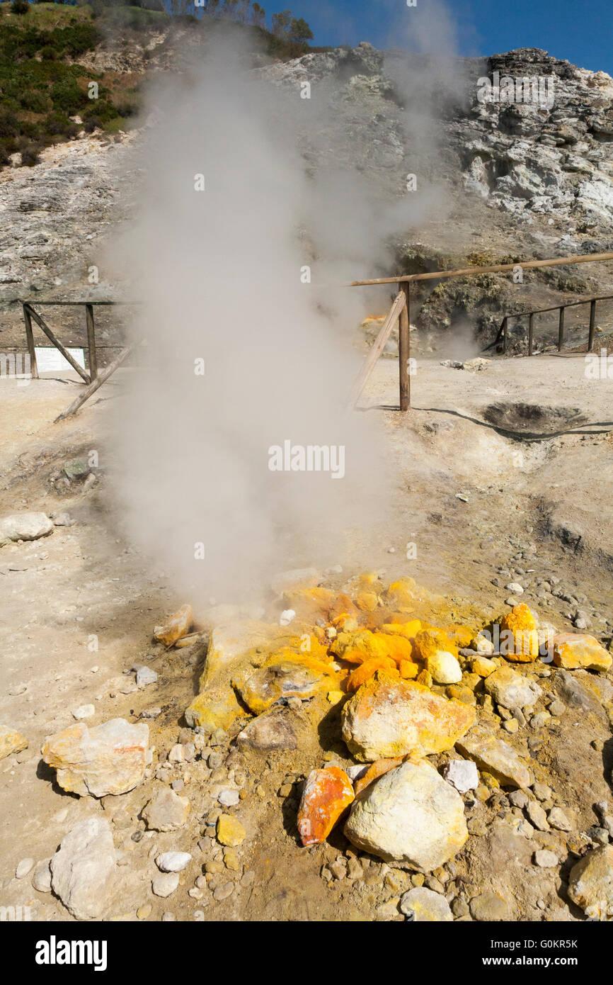 Solfatara volcano. Steam & sulfurous fumes rise from fumerole / fumeroles. Pozzuoli nr Naples Italy; Campi Flegrei Stock Photo