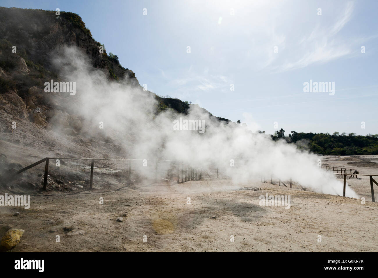 Solfatara volcano. Steam & sulfurous fumes rise from fumerole / fumeroles. Pozzuoli nr Naples Italy; Campi Flegrei Stock Photo