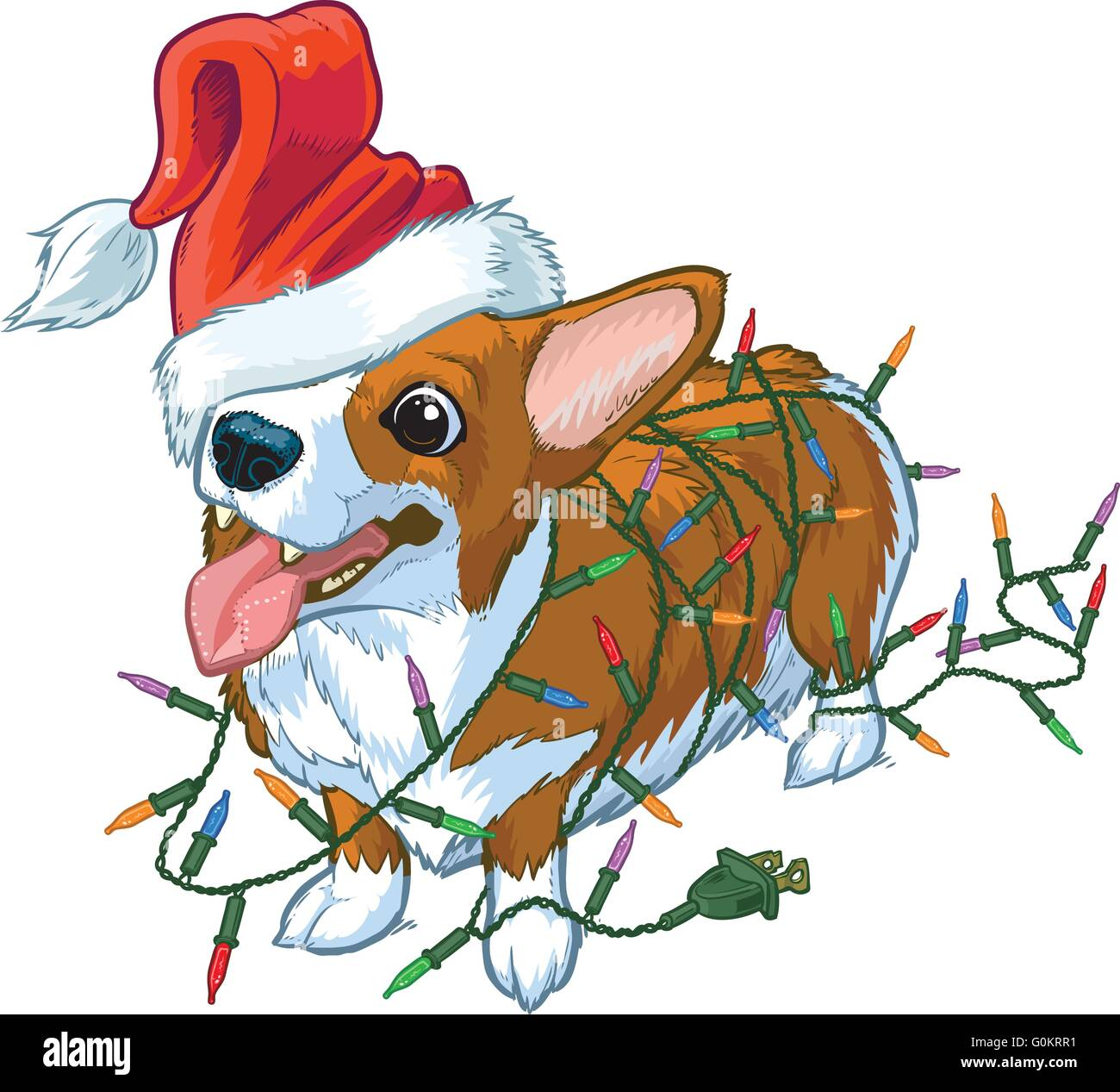 Vector Cartoon Clip Art Illustration Of A Corgi Wearing Santa Claus Hat Over One Eye And Tangled In Christmas Tree Lights