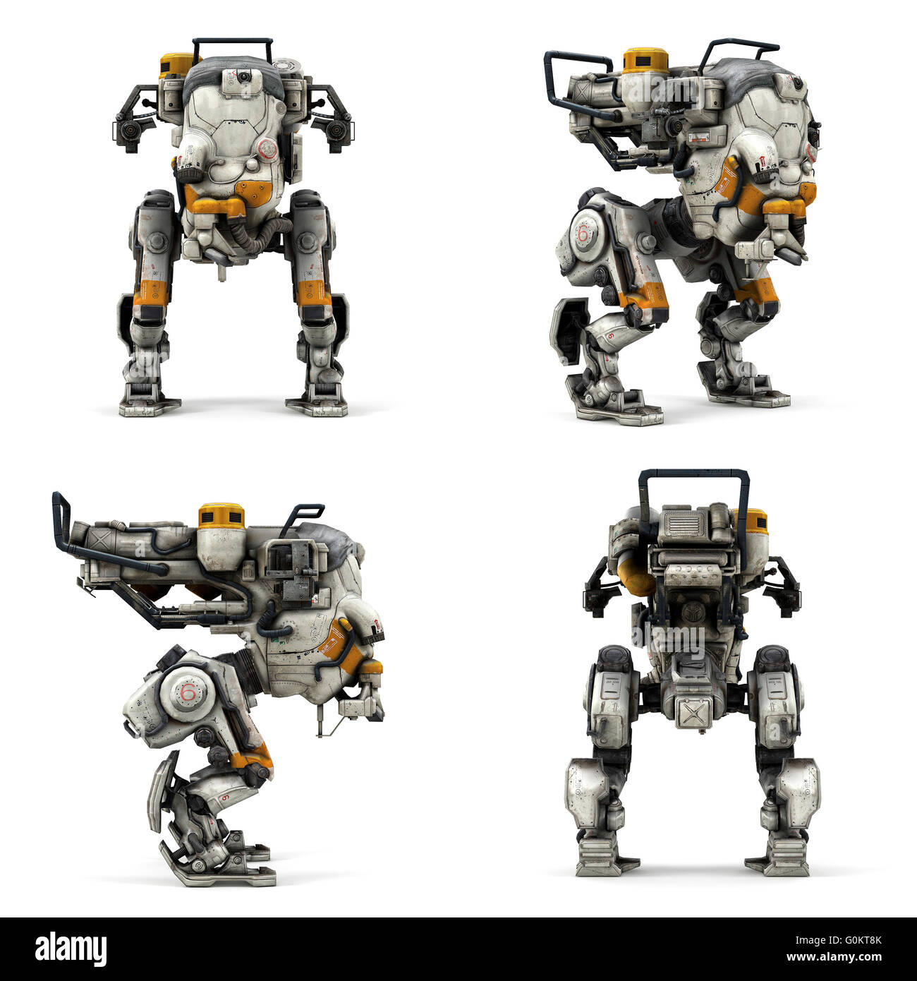 Robot isolated collection of view  3D rendering - Stock Image