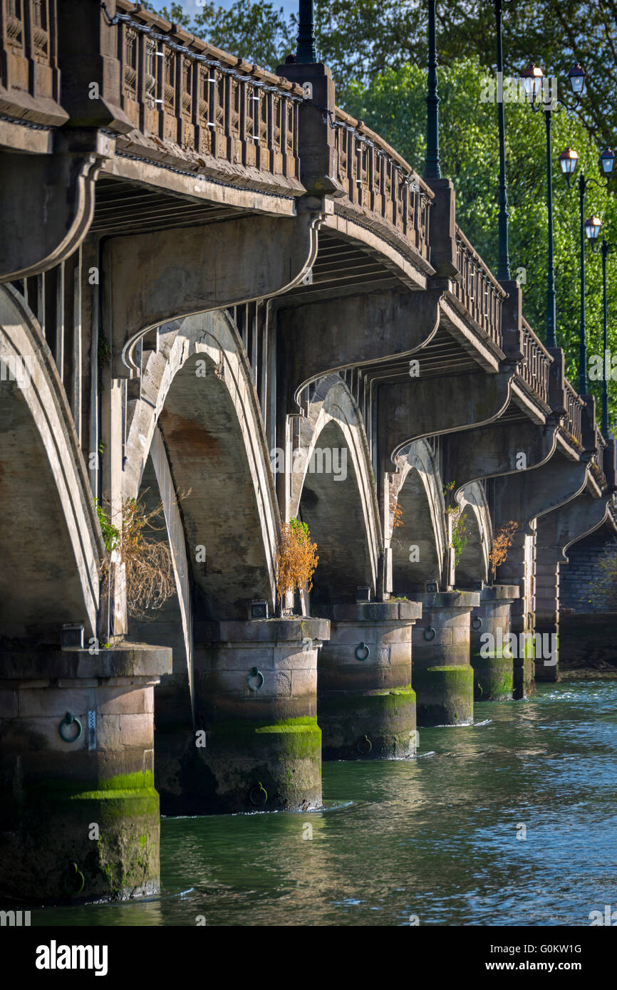 The built supports (substructure) of the Saint Esprit bridge, in the Adour river (Bayonne - Atlantic Pyrenees - - Stock Image