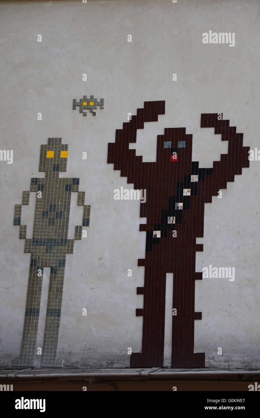 Street Art in Paris of Chewbacca and C6PO Stock Photo