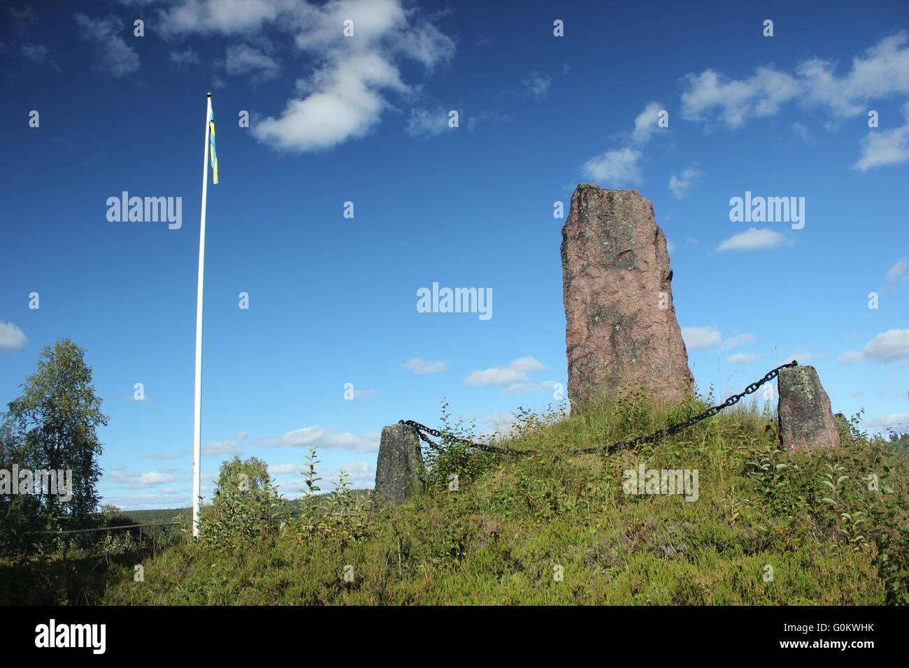 Standing stone on a hill near Sälen, Dalarna, Sweden. Stock Photo