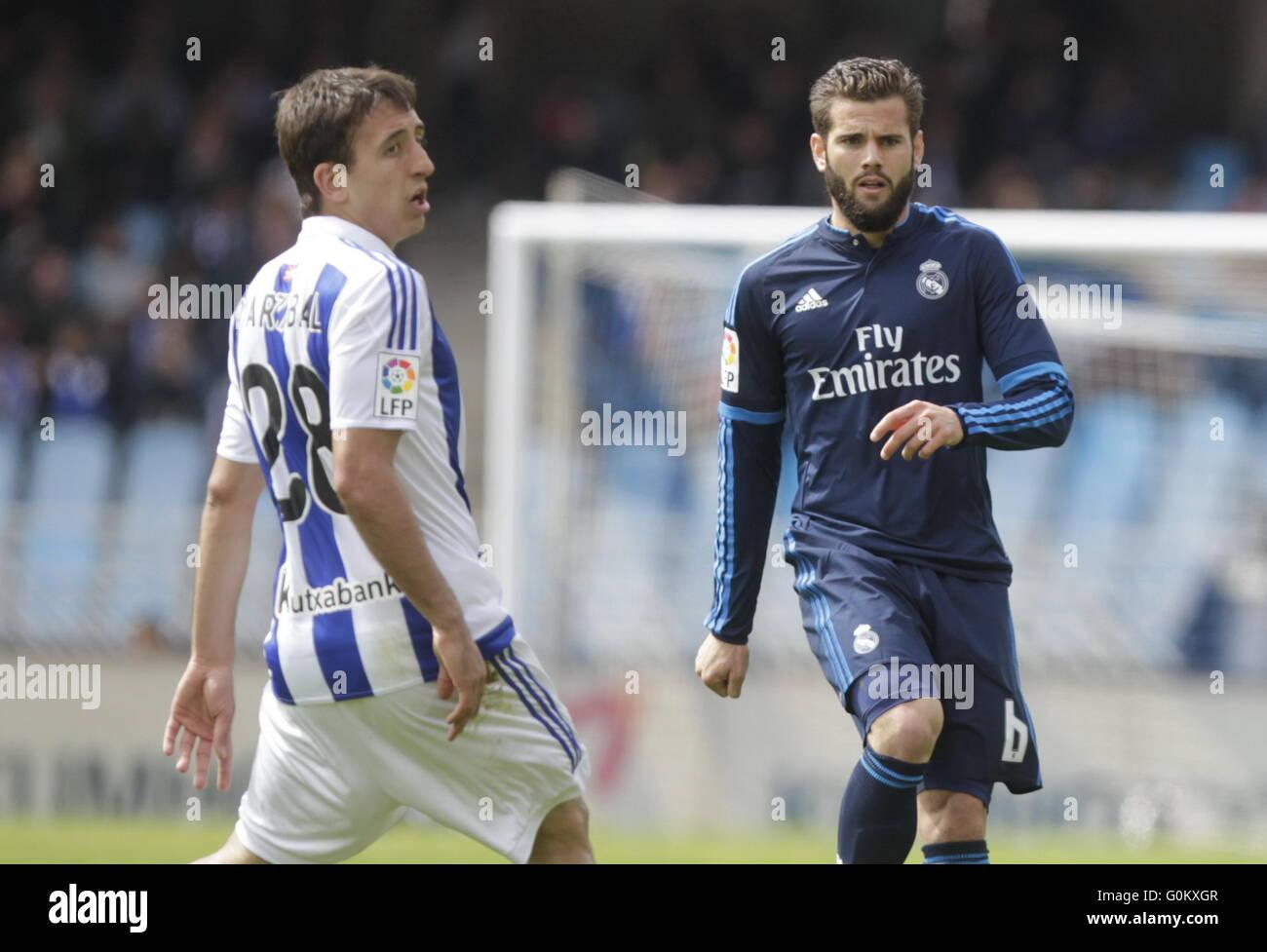 Nacho of Real Madrid during the La Liga match espagolde Real Sociedad - Real Madrid at the Anoeta Stadium - Stock Image