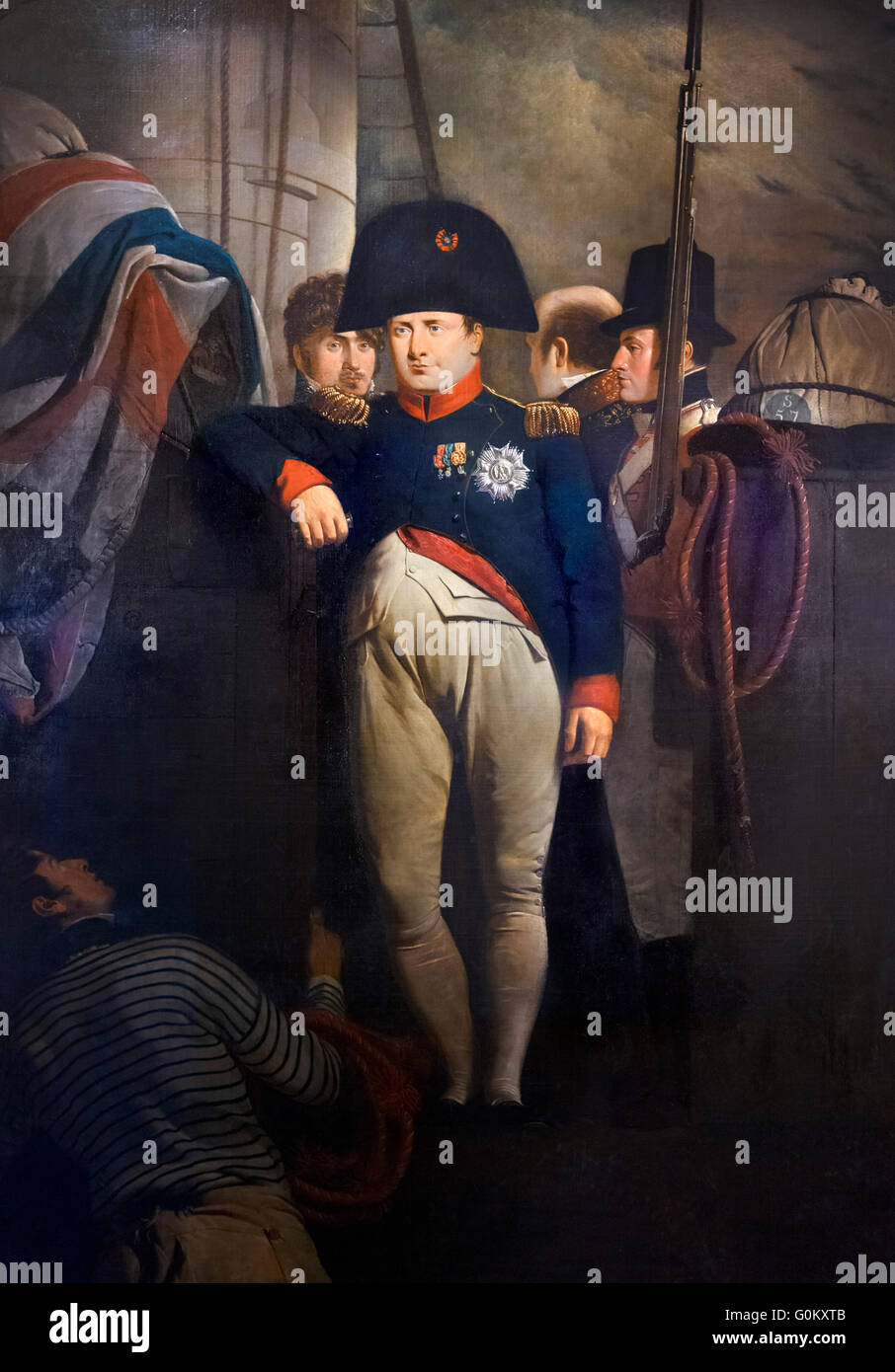 'Napoleon Bonaparte on Board the Bellerophon in Plymouth Sound' by Sir Charles Lock Eastlake, oil on canvas, - Stock Image
