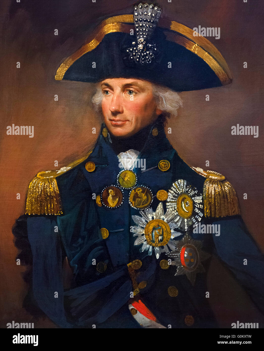 Admiral Nelson. Portrait of Rear-Admiral Sir Horatio Nelson (1758-1805) by Lemuel Francis Abbot, oil on canvas, - Stock Image