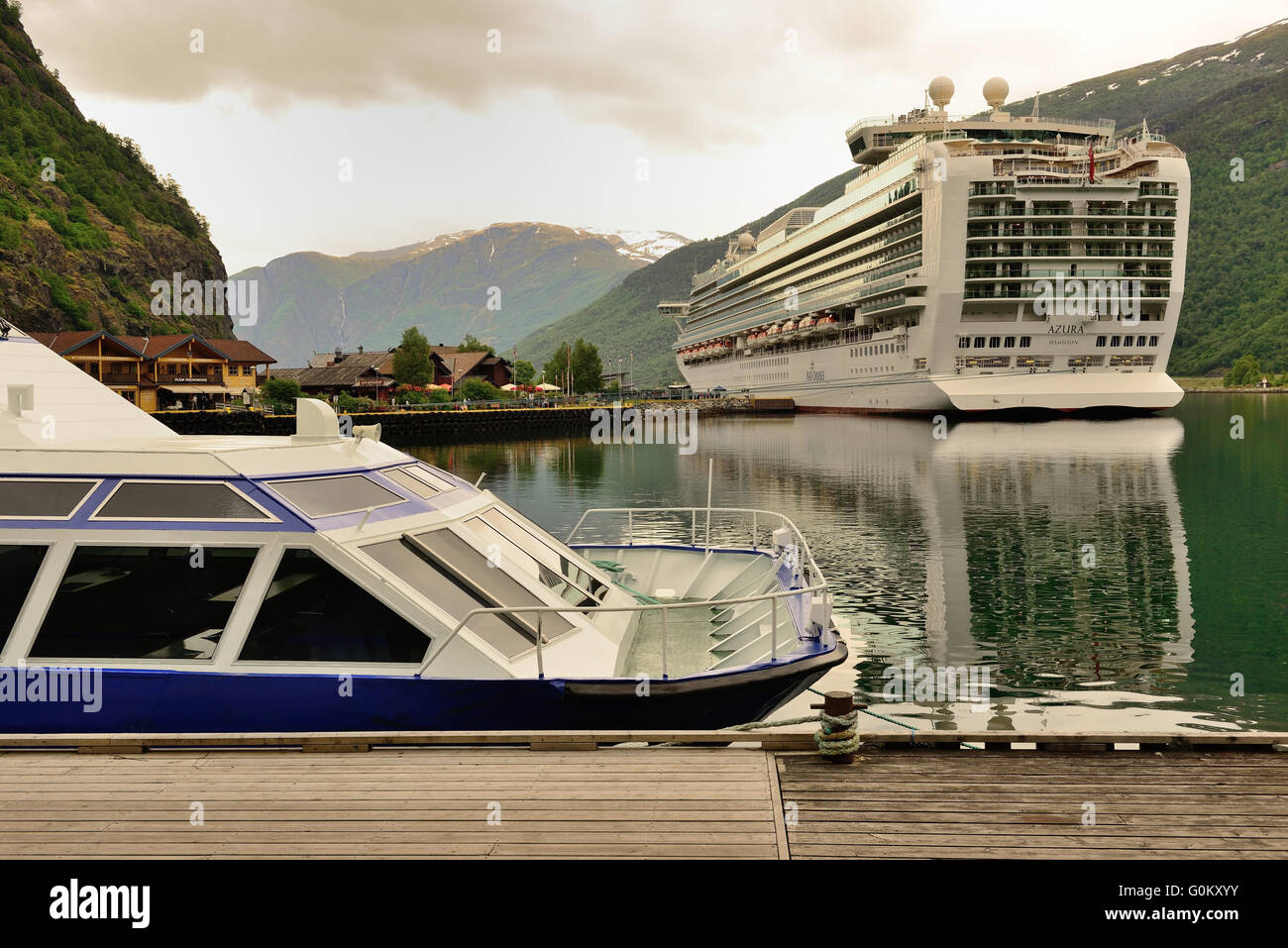 P&O cruise ship Azura berthed at Flam on the Aurlandsfjorden. - Stock Image