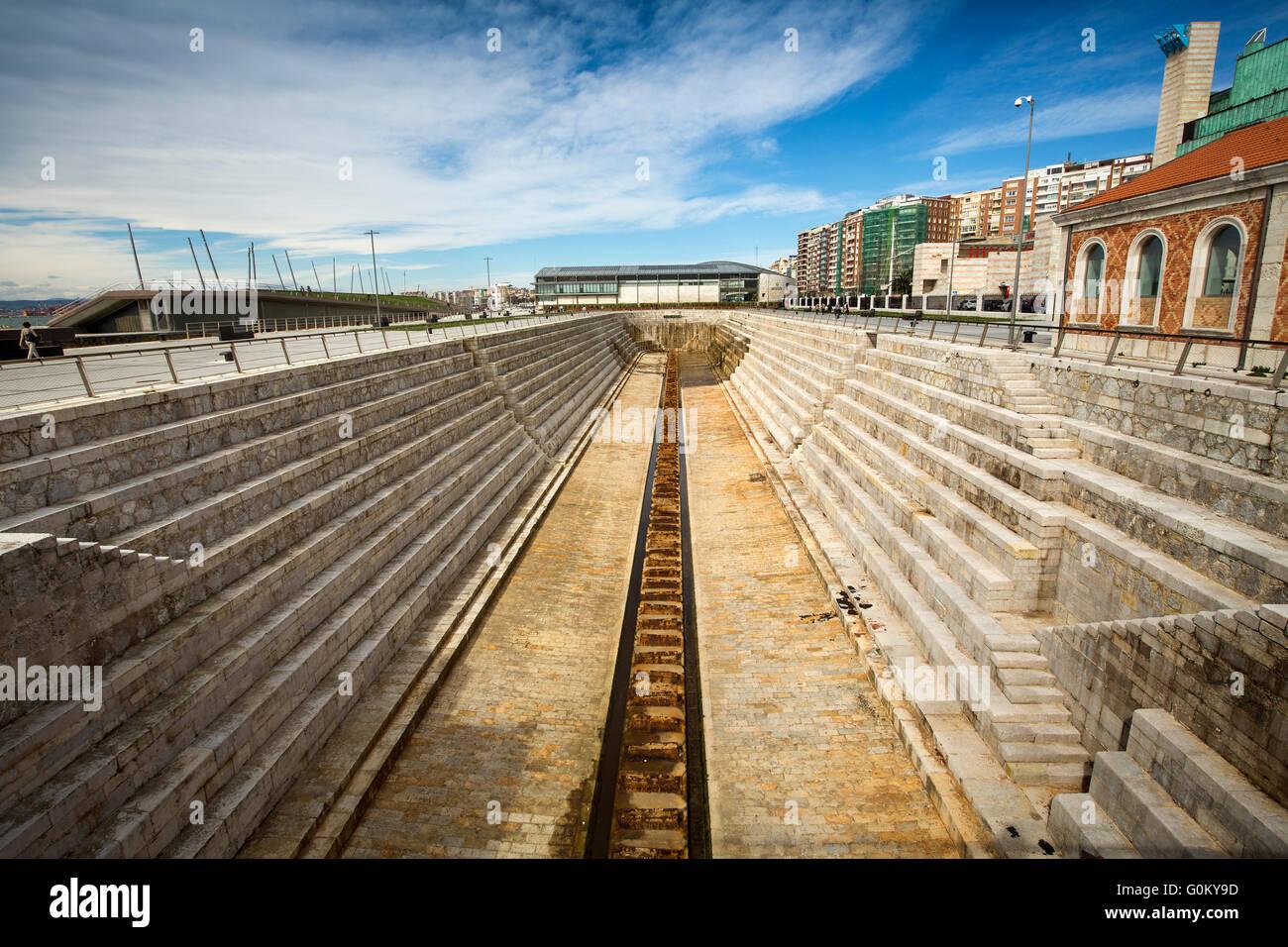 Dique de Gamazo dry dock. Santander Bay, Cantabria, Spain Europe - Stock Image