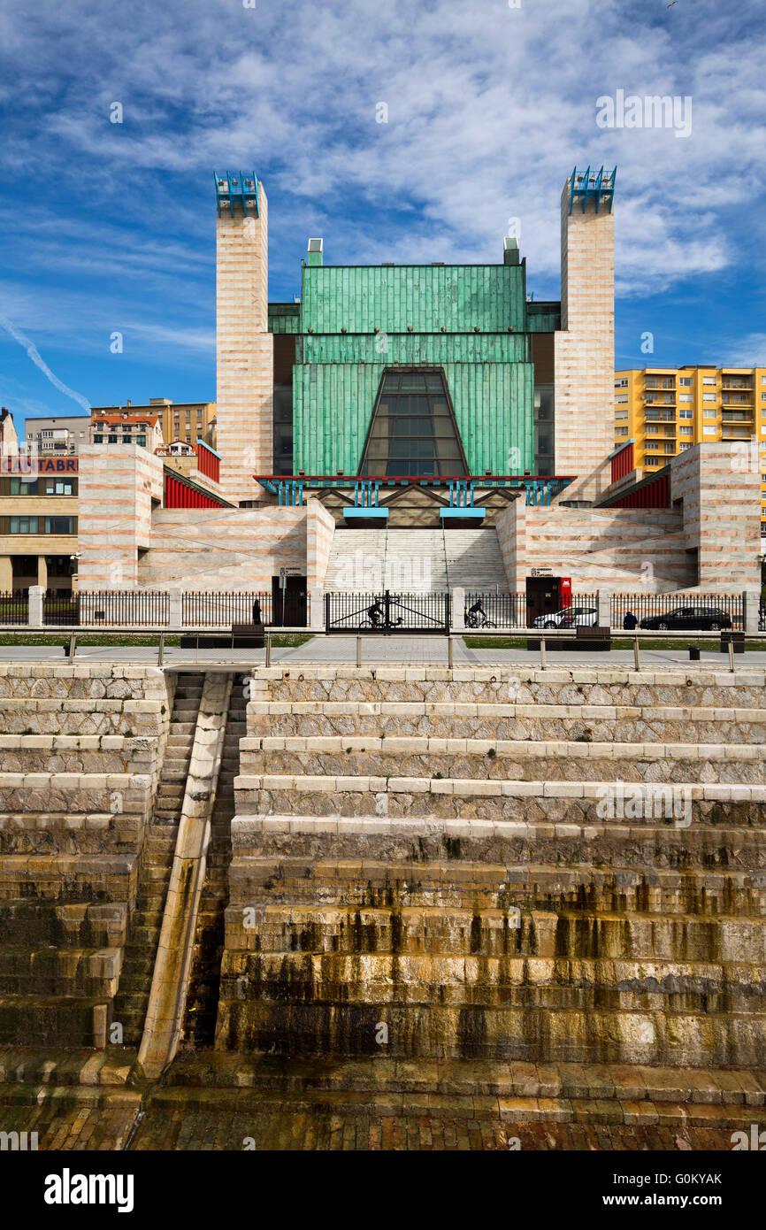Dique de Gamazo dry dock and Palacio de Festivales. Santander Bay, Cantabria, Spain Europe - Stock Image