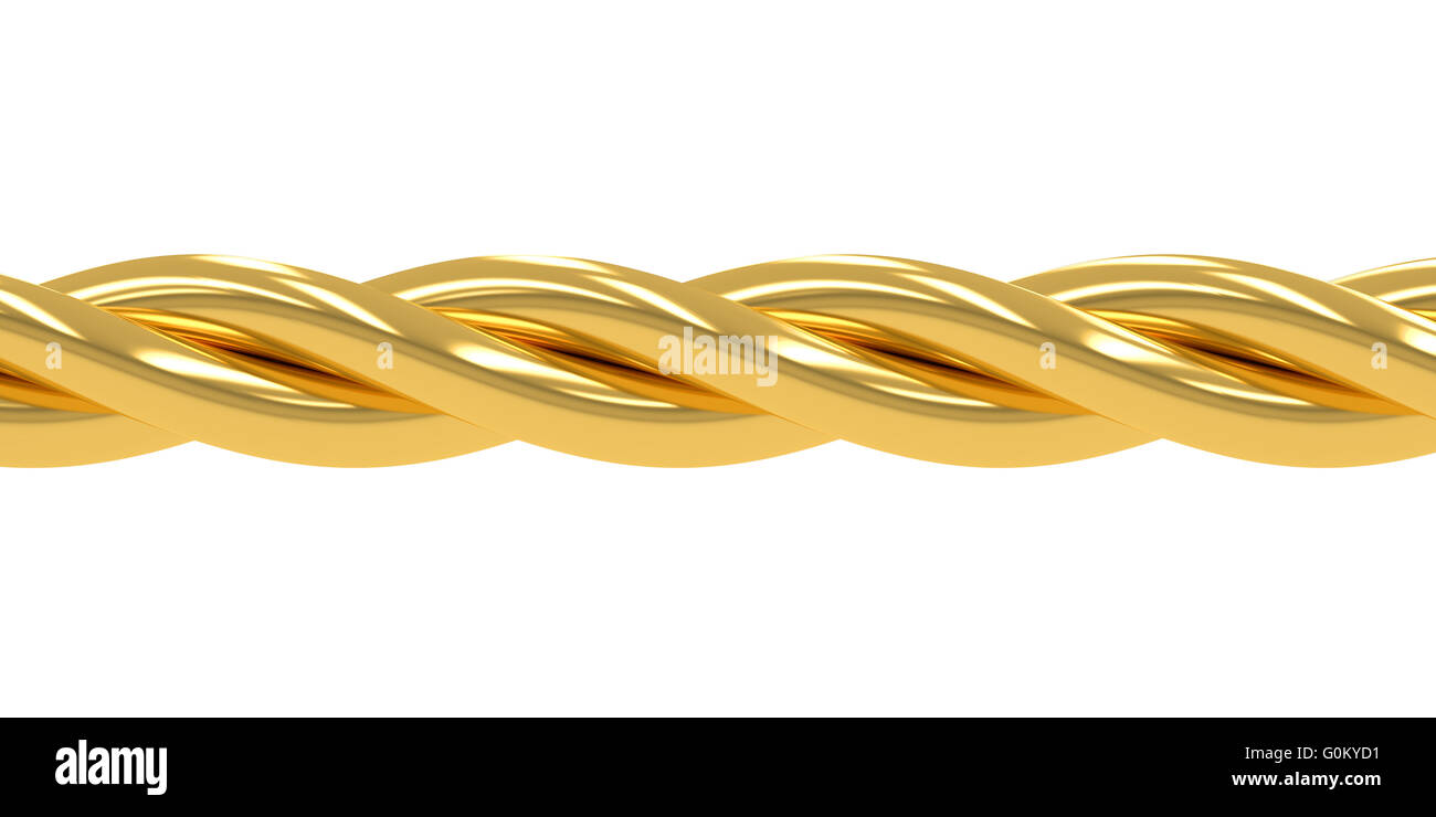 Golden wire, chain, 3D rendering isolated on white background Stock ...