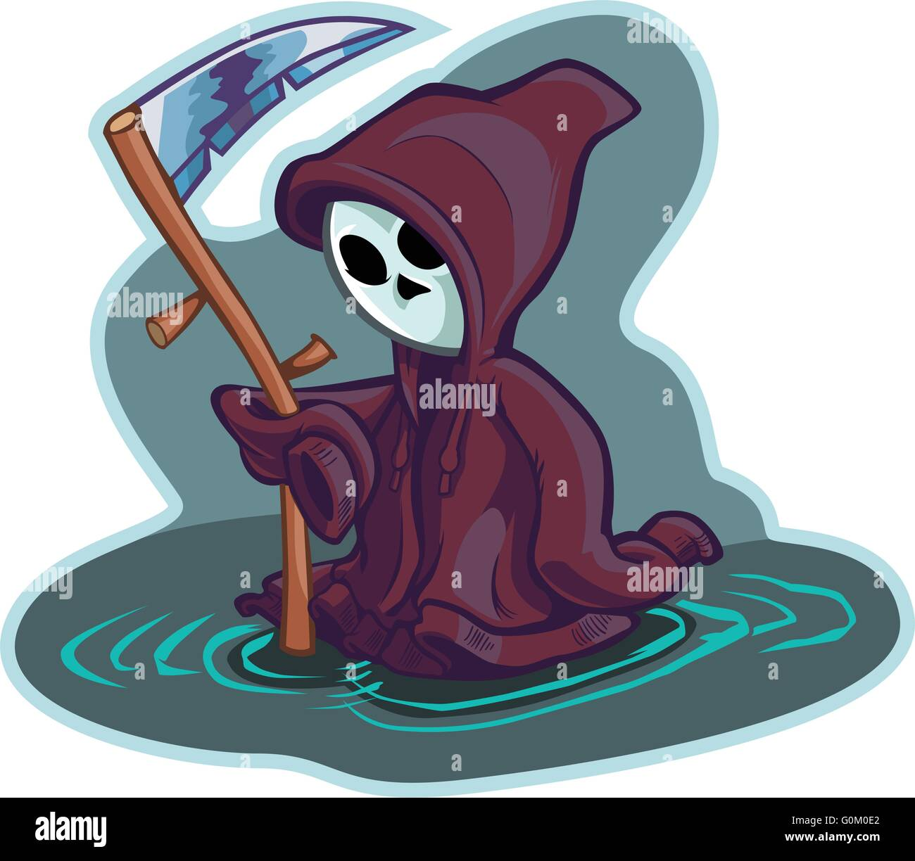 Vector cartoon clip art illustration of a cute little or young child version of death or the grim reaper, wearing Stock Vector