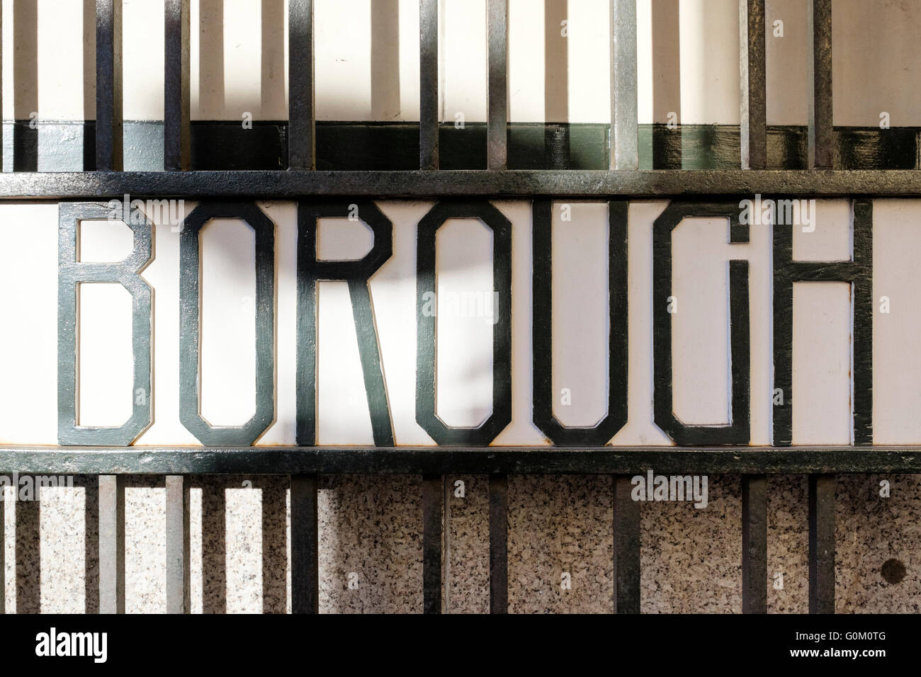 Typographic sign on a gated entrance to Borough Market, London. - Stock Image