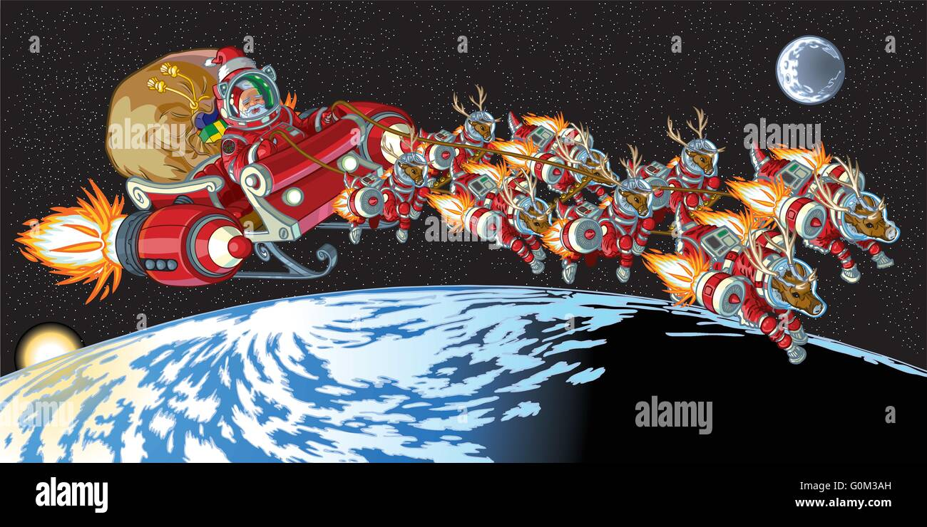 Vector cartoon illustration of Santa Claus and his reindeer wearing astronaut space suits and driving a rocket powered - Stock Image