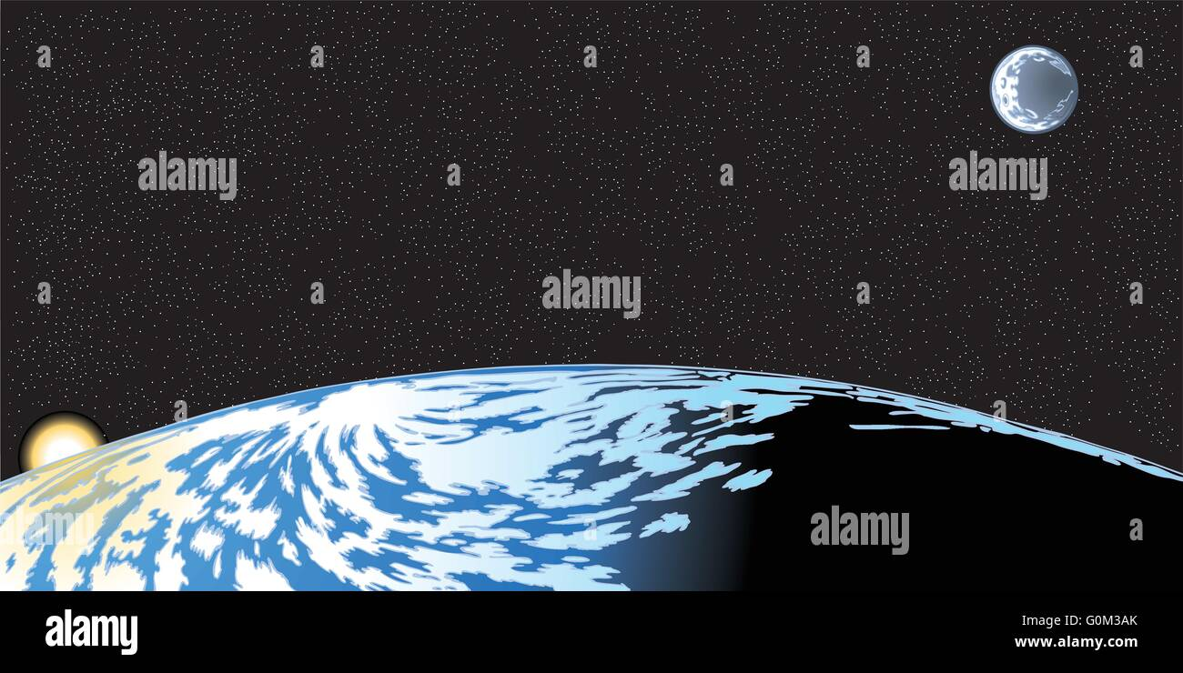 Vector cartoon clip art illustration of the earth horizon seen from space with the rising sun and moon and stars - Stock Image