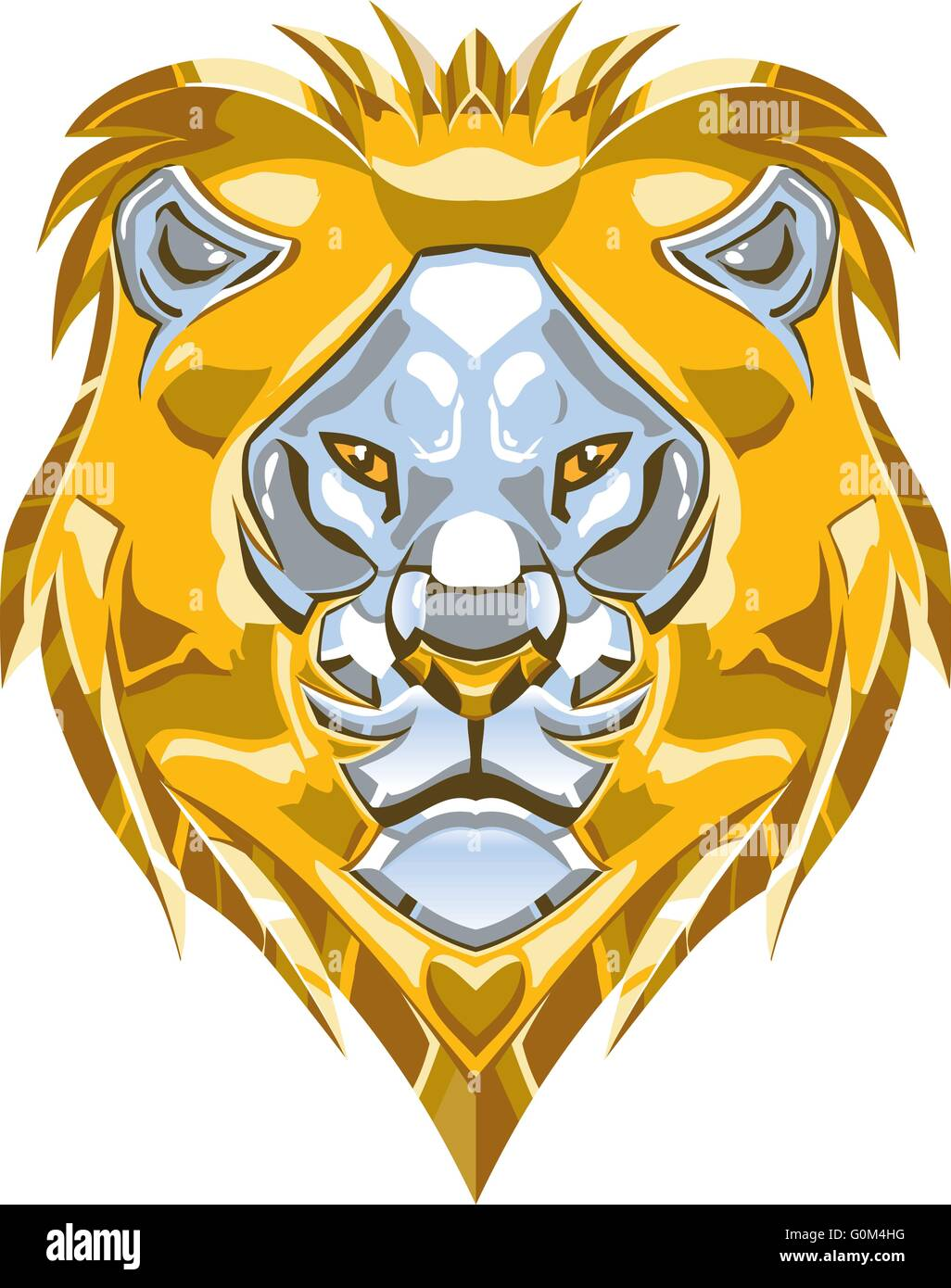 Vector cartoon clip art illustration of a polished shiny metallic gold and silver or chrome lion head ornament. - Stock Vector