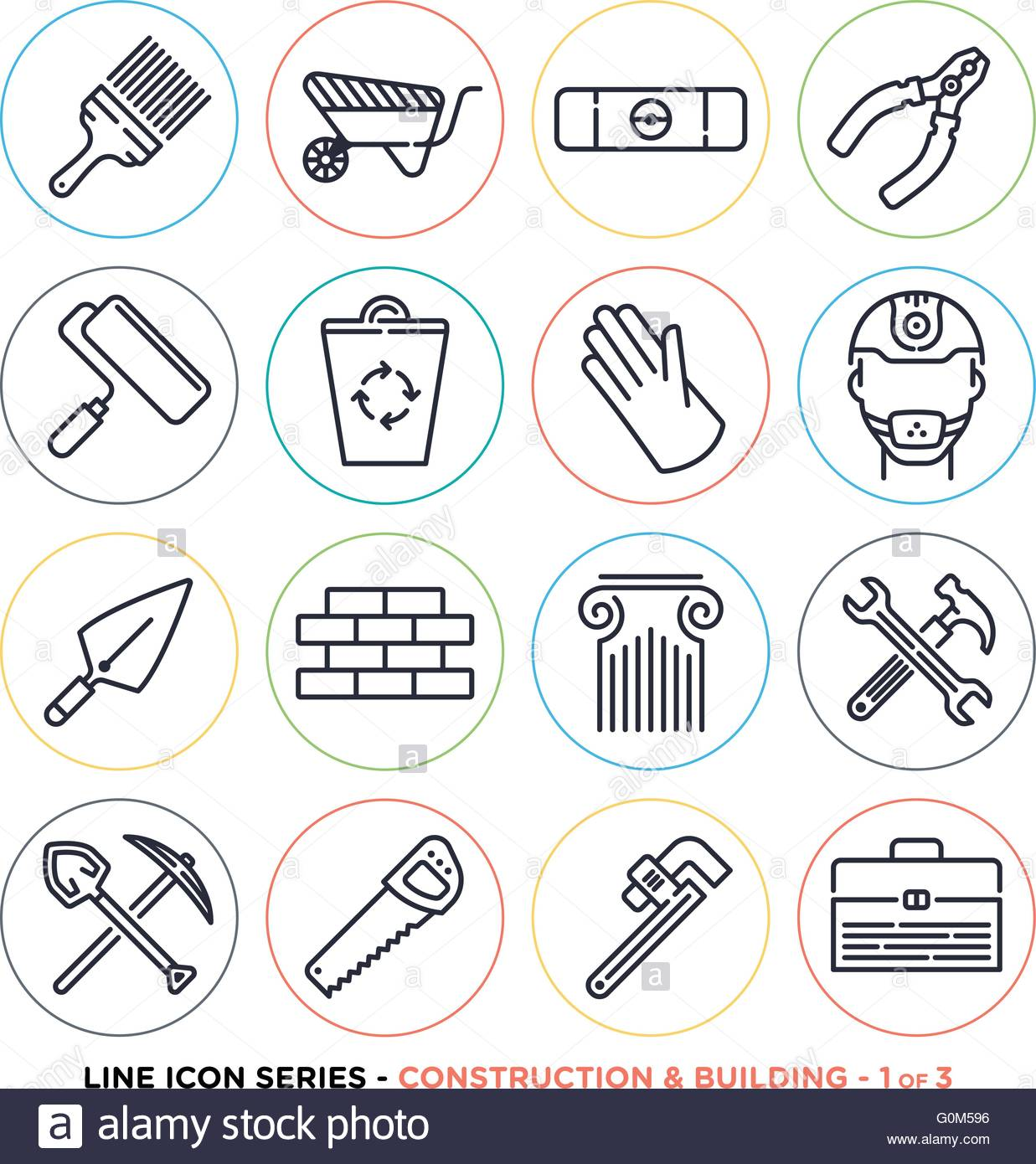 Construction And Building Line Icons Set Vector Collection Of Stock