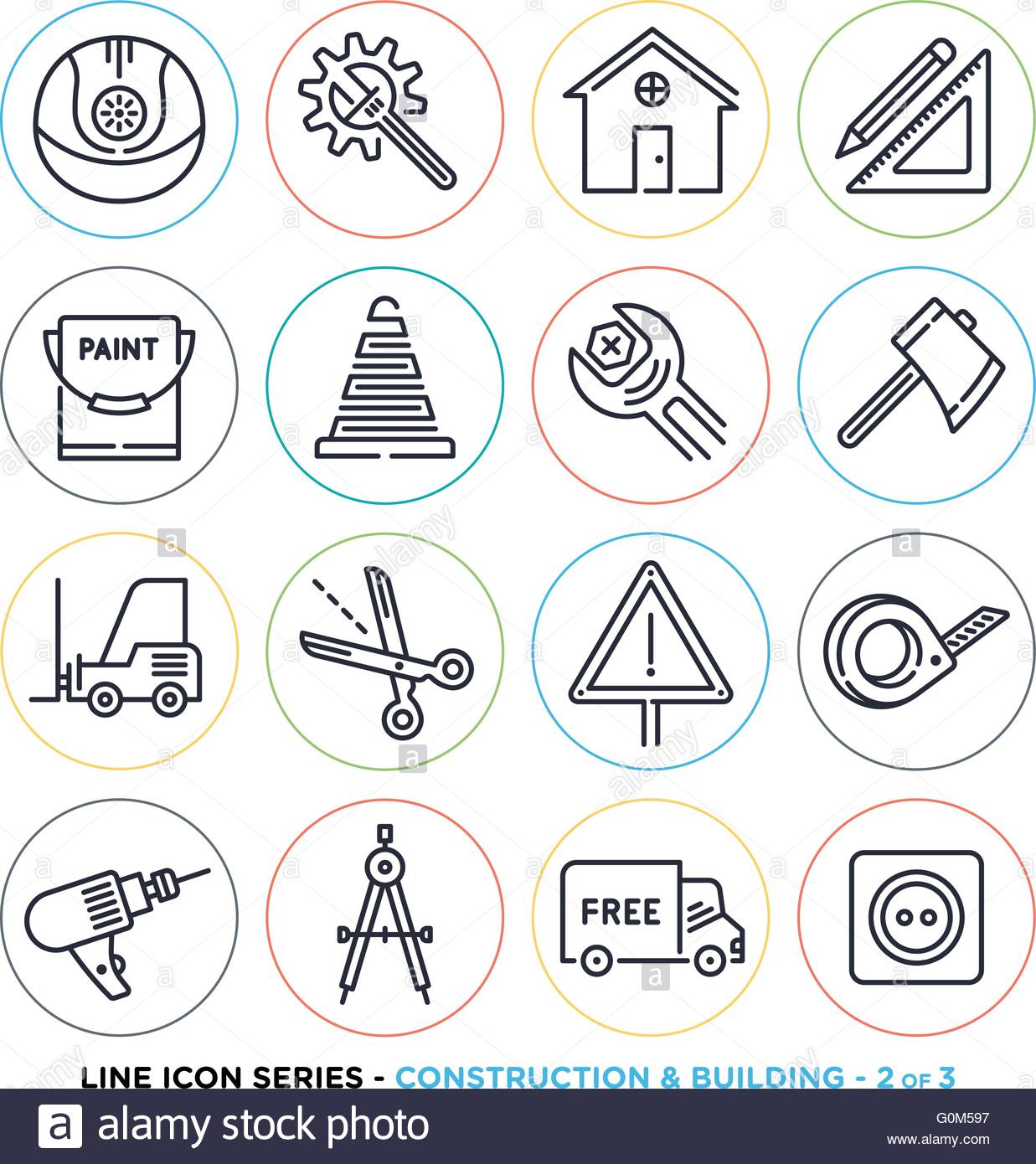 construction and building line icons set vector collection of stock vector art illustration. Black Bedroom Furniture Sets. Home Design Ideas