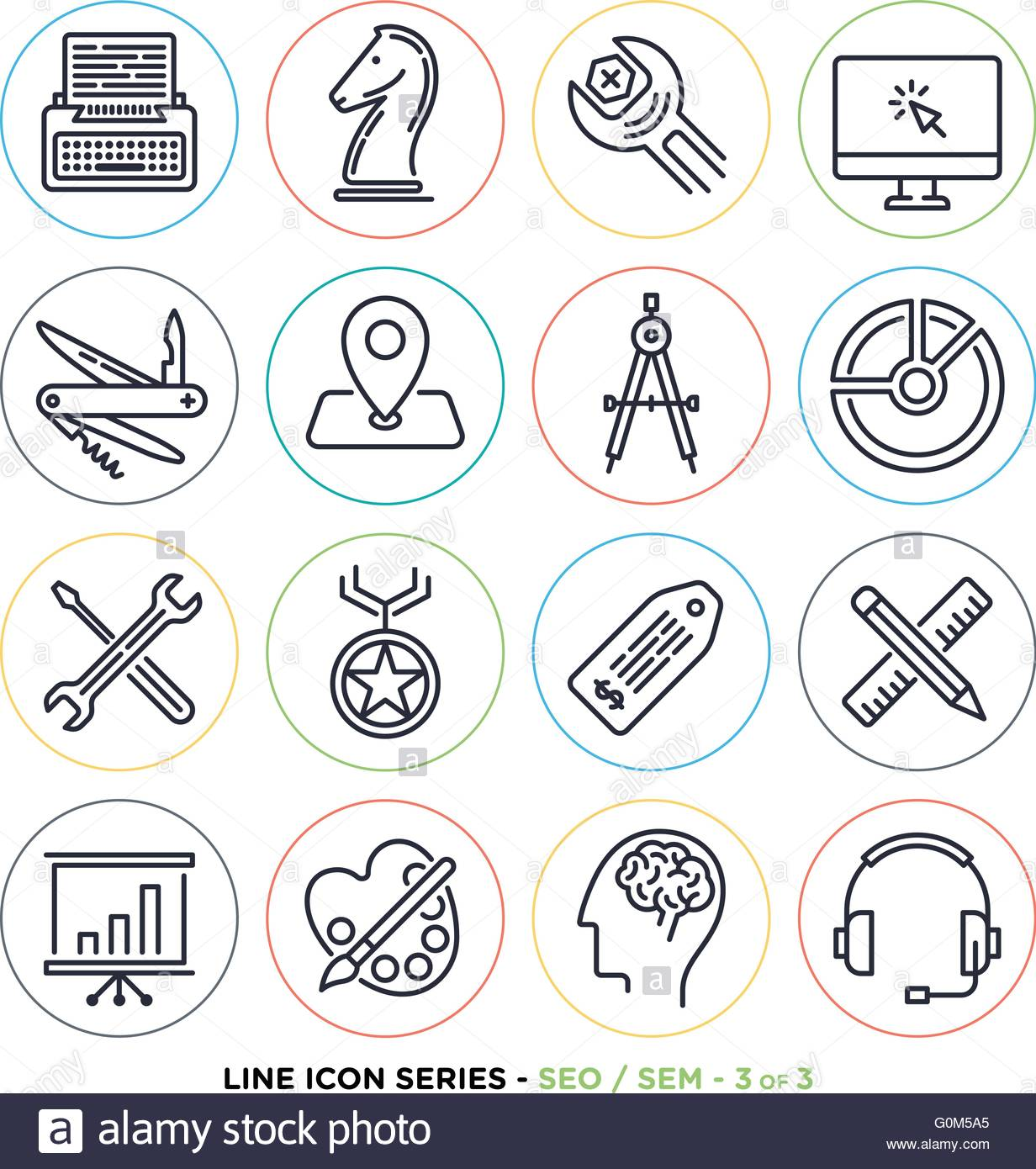 Search Engine Optimization Line Icons Set Vector Collection Of