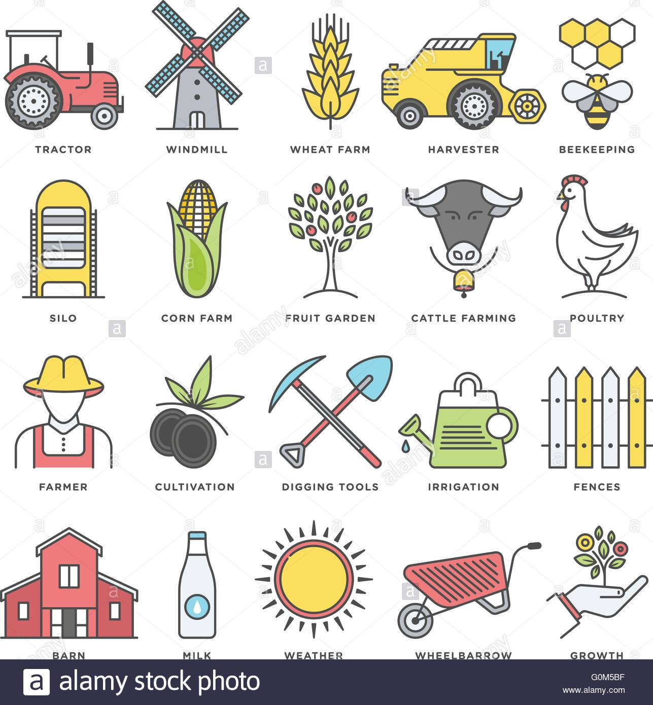 Modern style illustrations and design elements for organic foods ...