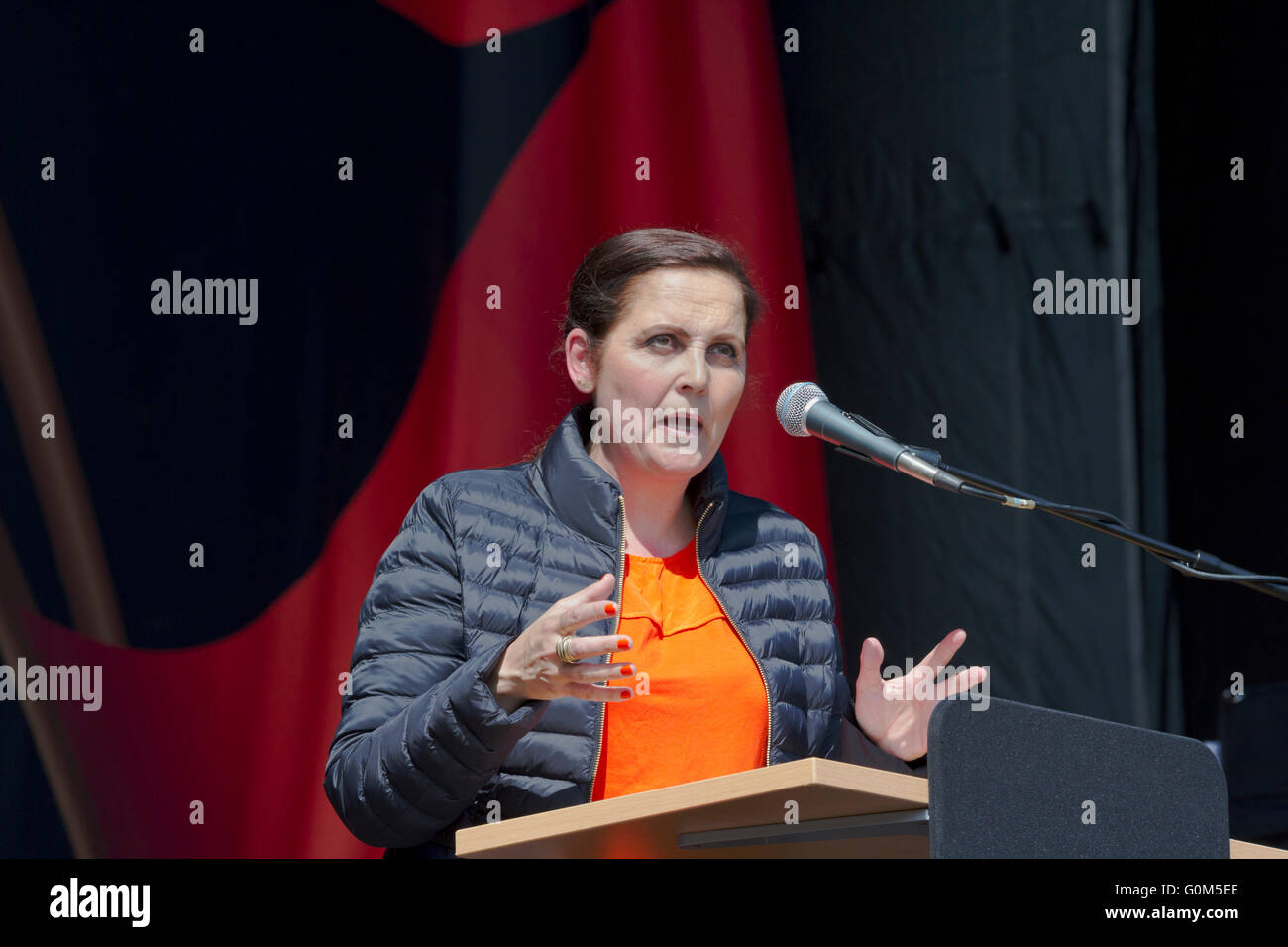 Pia Olsen Dyhr, MP and leader of the Socialist People's Party, speaks on 1st May, Labour Day, in Faelledparken, - Stock Image