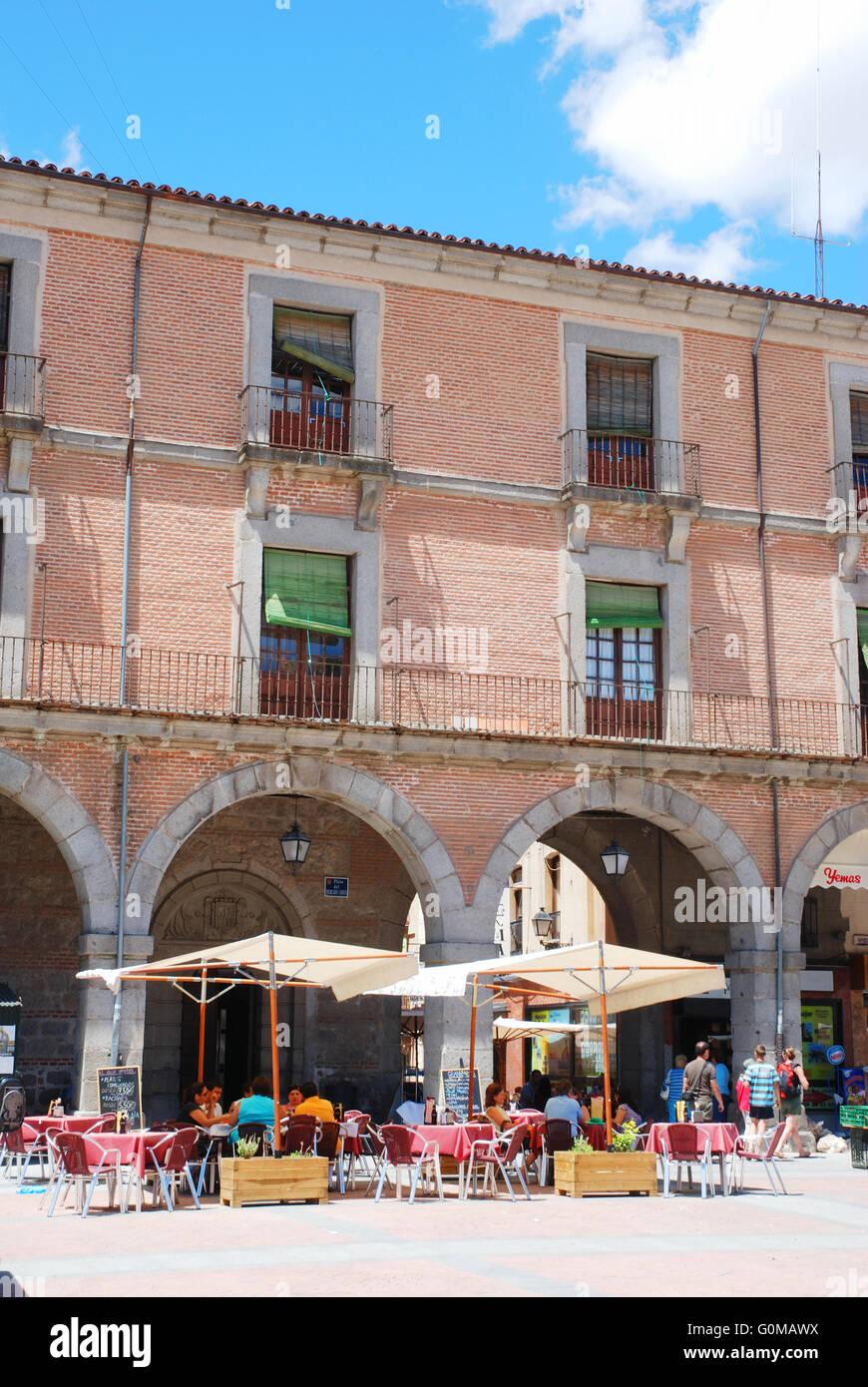 Terrace in Mercado Chico Square. Avila, Castilla Leon, Spain. - Stock Image