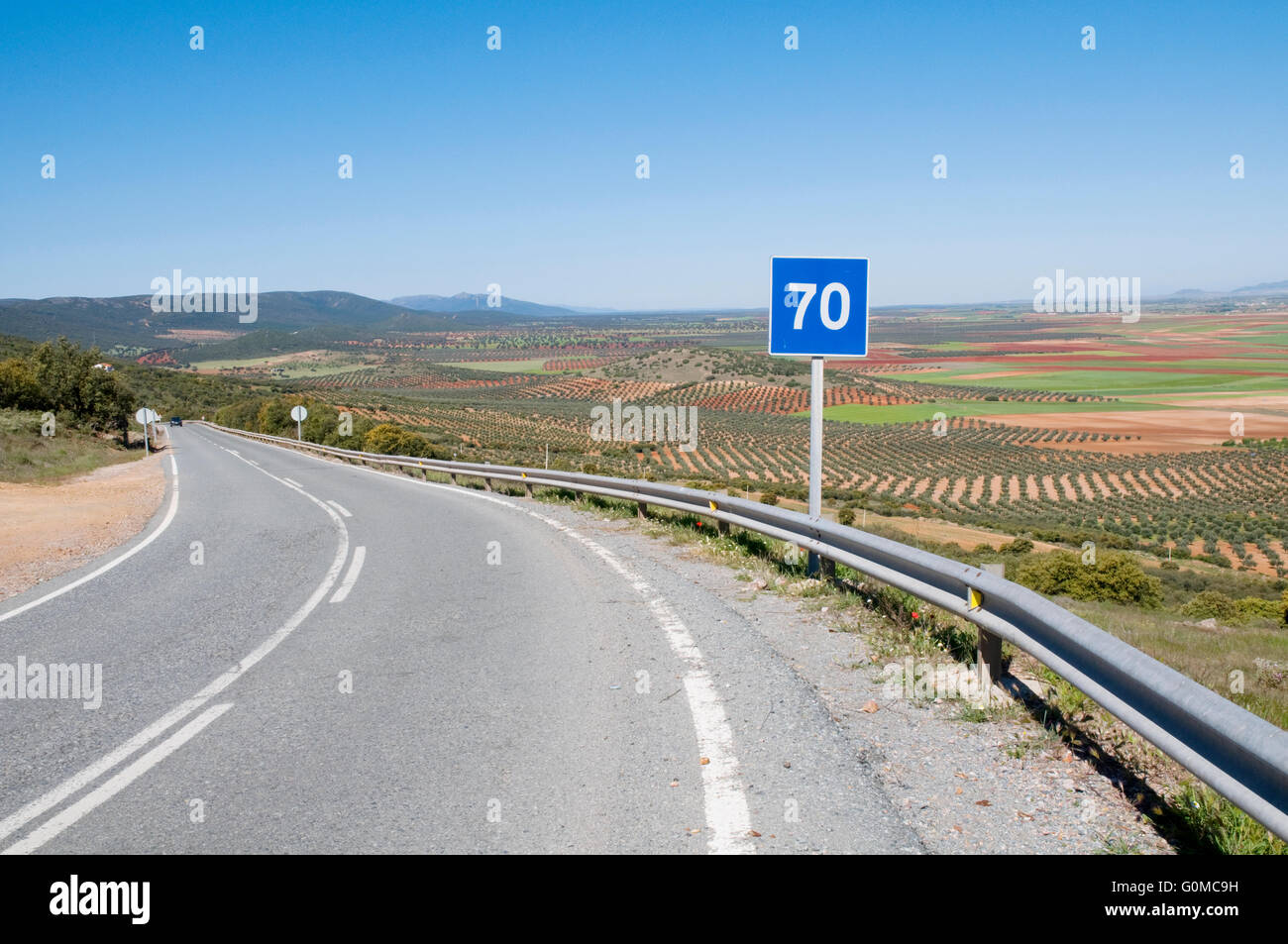 Road and road sign. Los Yebenes, Toledo province, Castilla La Mancha, Spain. Stock Photo