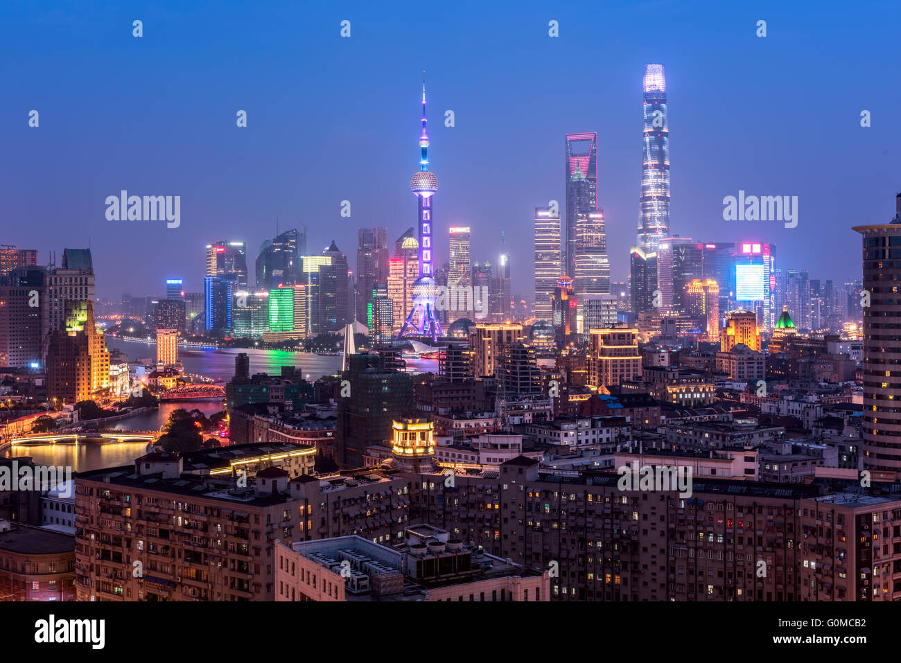 Elevated  view of Shanghai skyline at night. Stock Photo