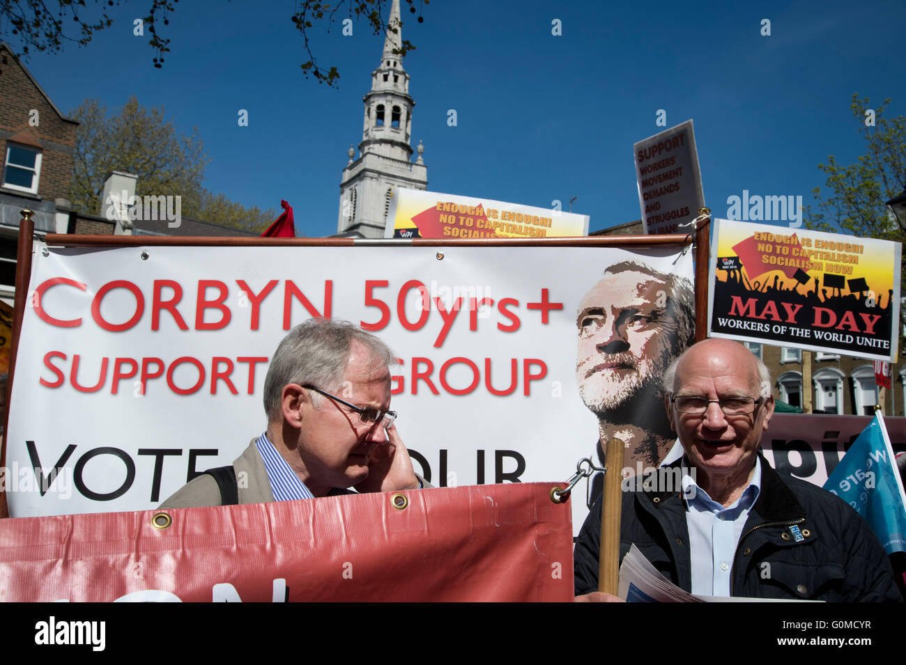Mayday 2016. Clerkenwell. 50 plus supporters of Jeremy Corbyn. International Workers Day. - Stock Image